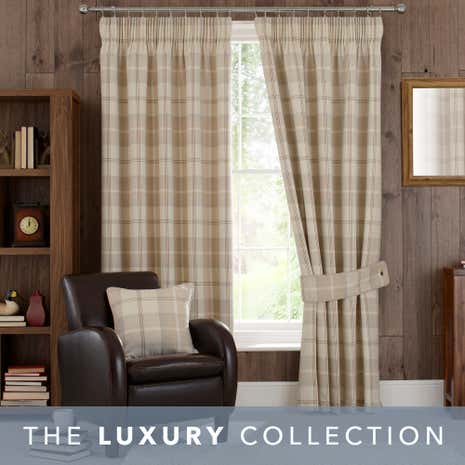 Exceptional Highland Check Natural Lined Pencil Pleat Curtains