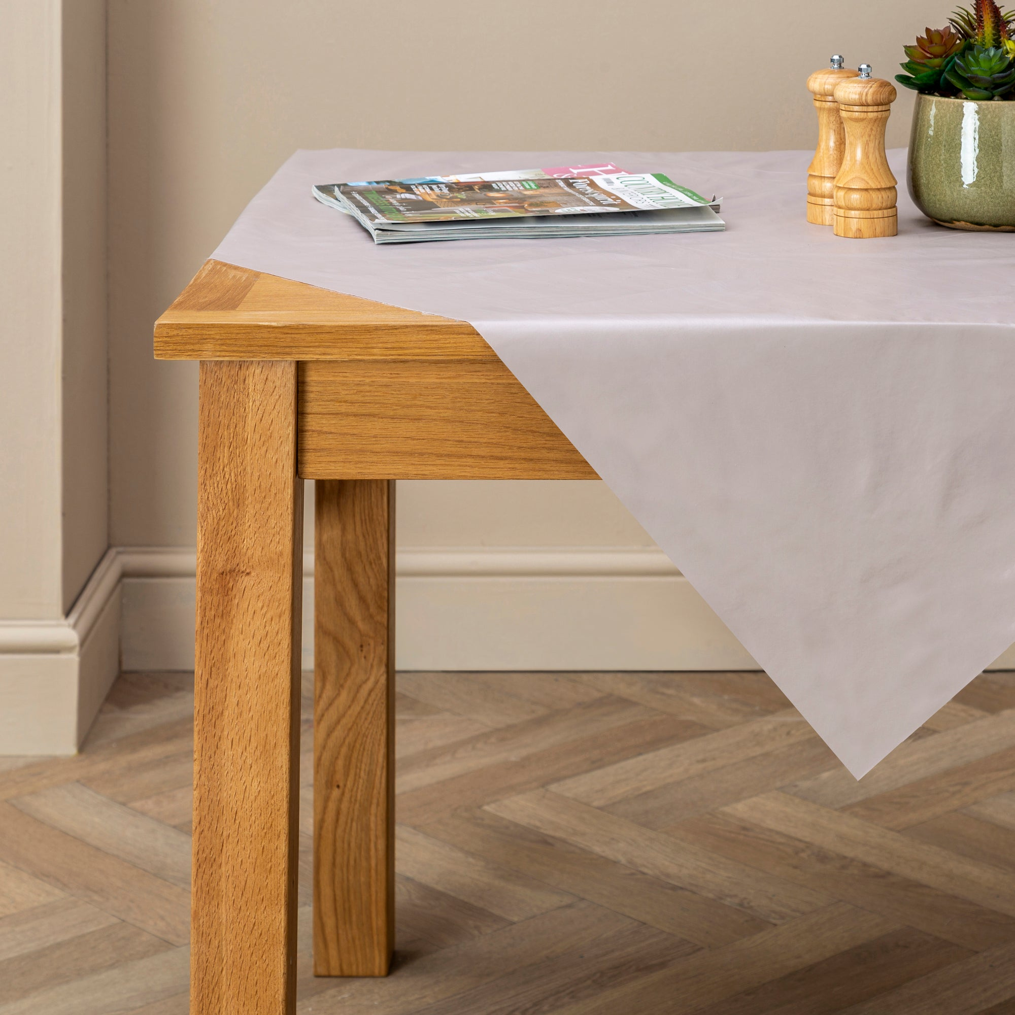 Taupe PVC Tablecloth Cream