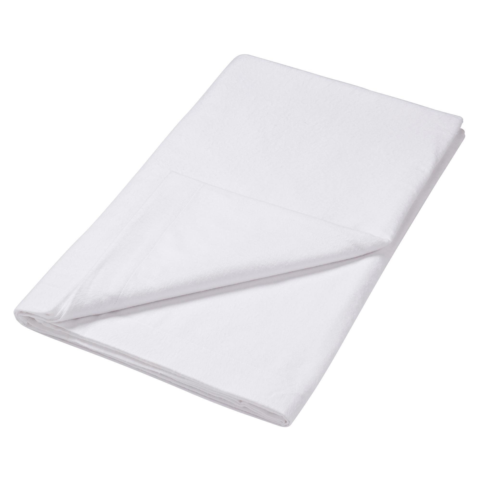 Image of 100% Brushed Cotton White Flat Sheet White