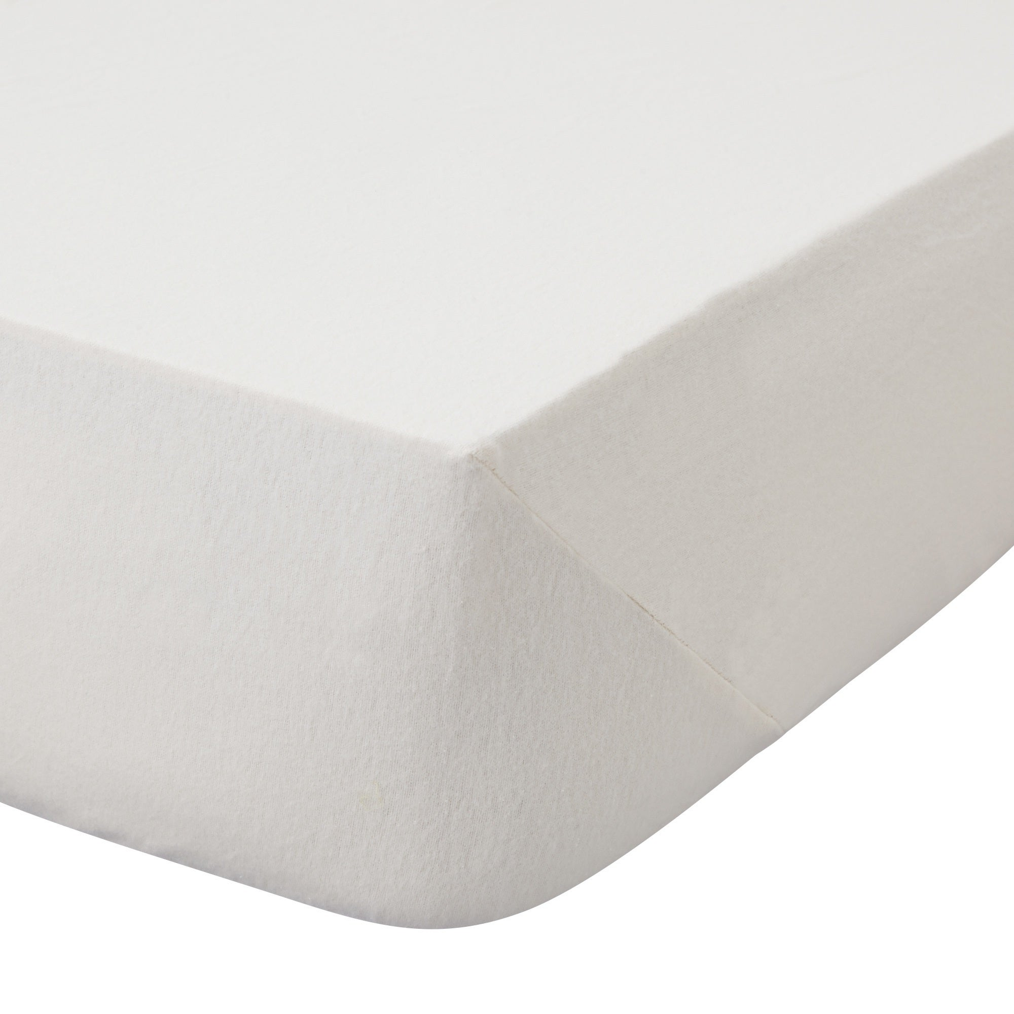 Image of 100% Brushed Cotton 25cm Cream Fitted Sheet Cream