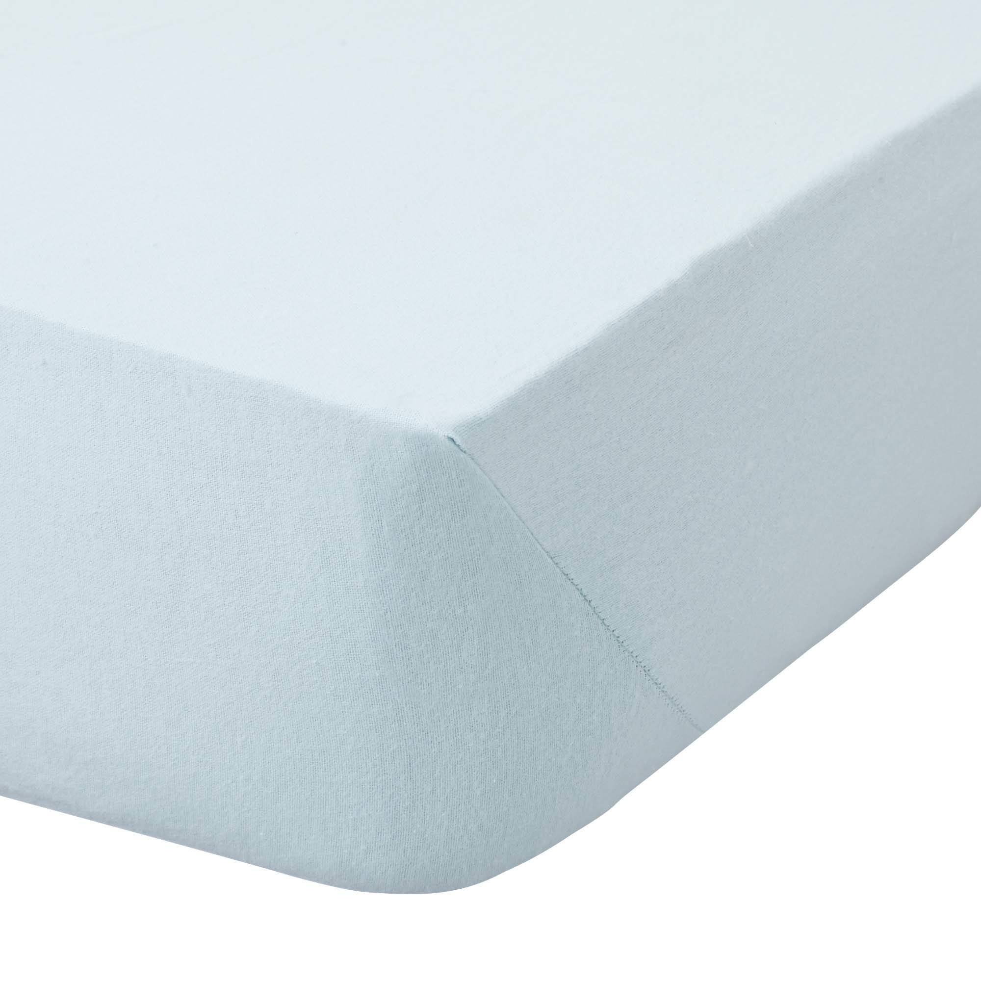 Image of Brushed Cotton 25cm Fitted Sheet Light Blue / Baby Blue