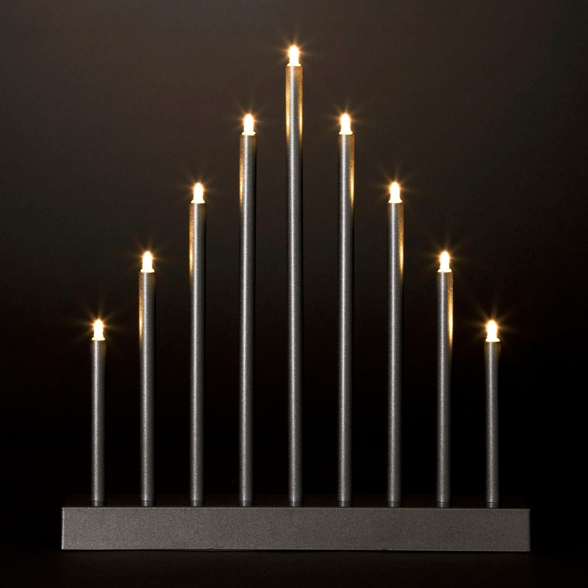Christmas Tiered Spike Candle LED Light Silver