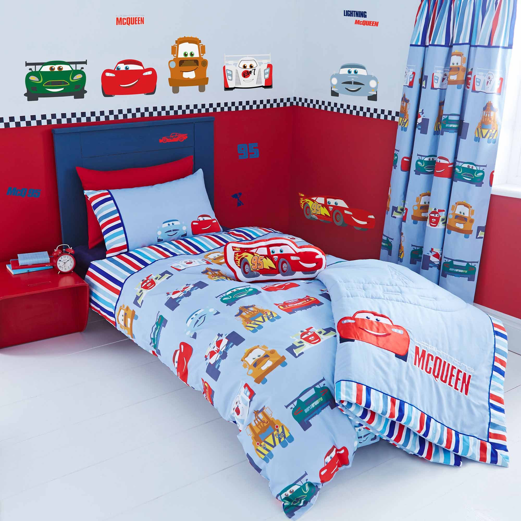 Image of Disney Cars Junior Duvet Cover and Pillowcase Set White / Red / Blue