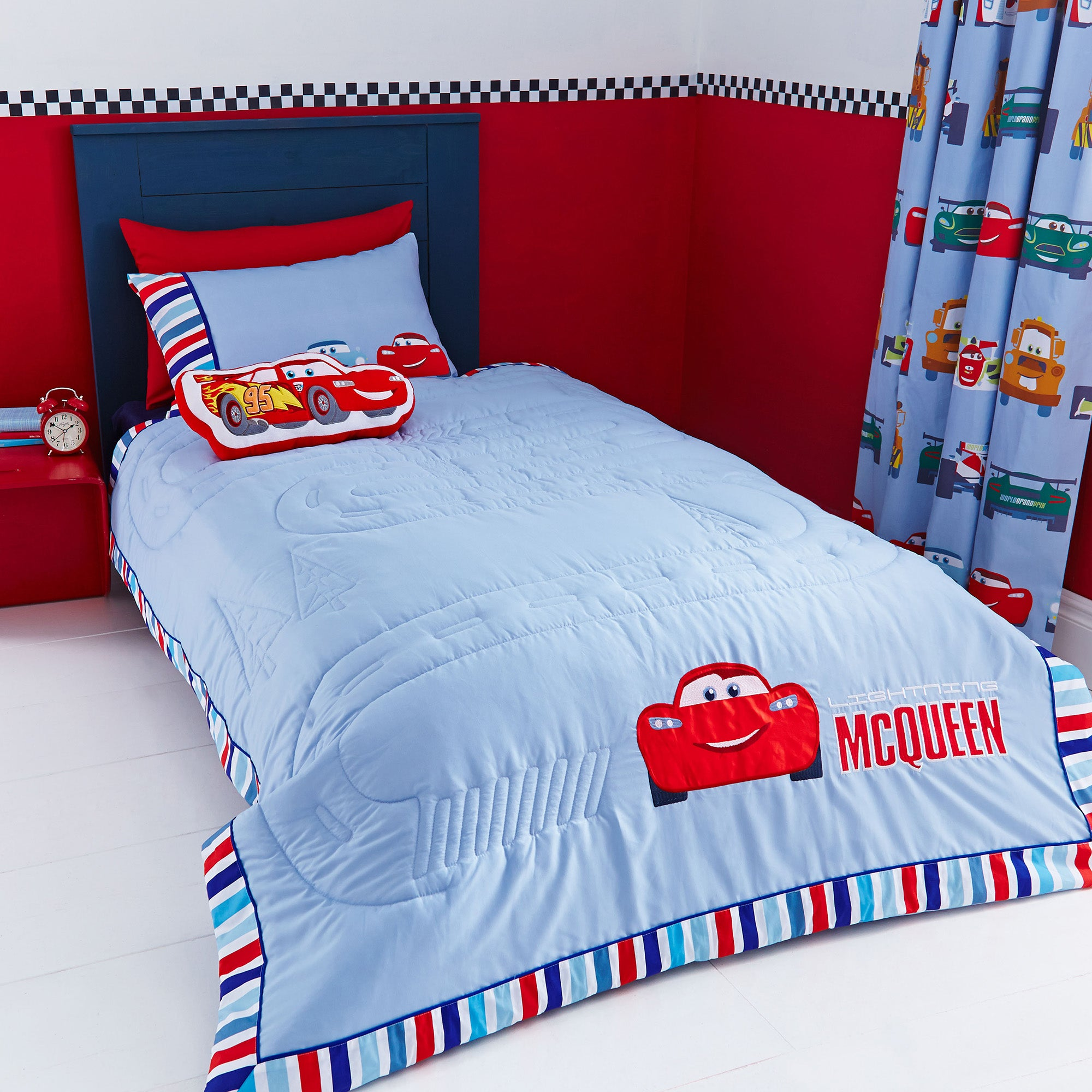 Image of Disney Cars Bedspread White / Red / Blue