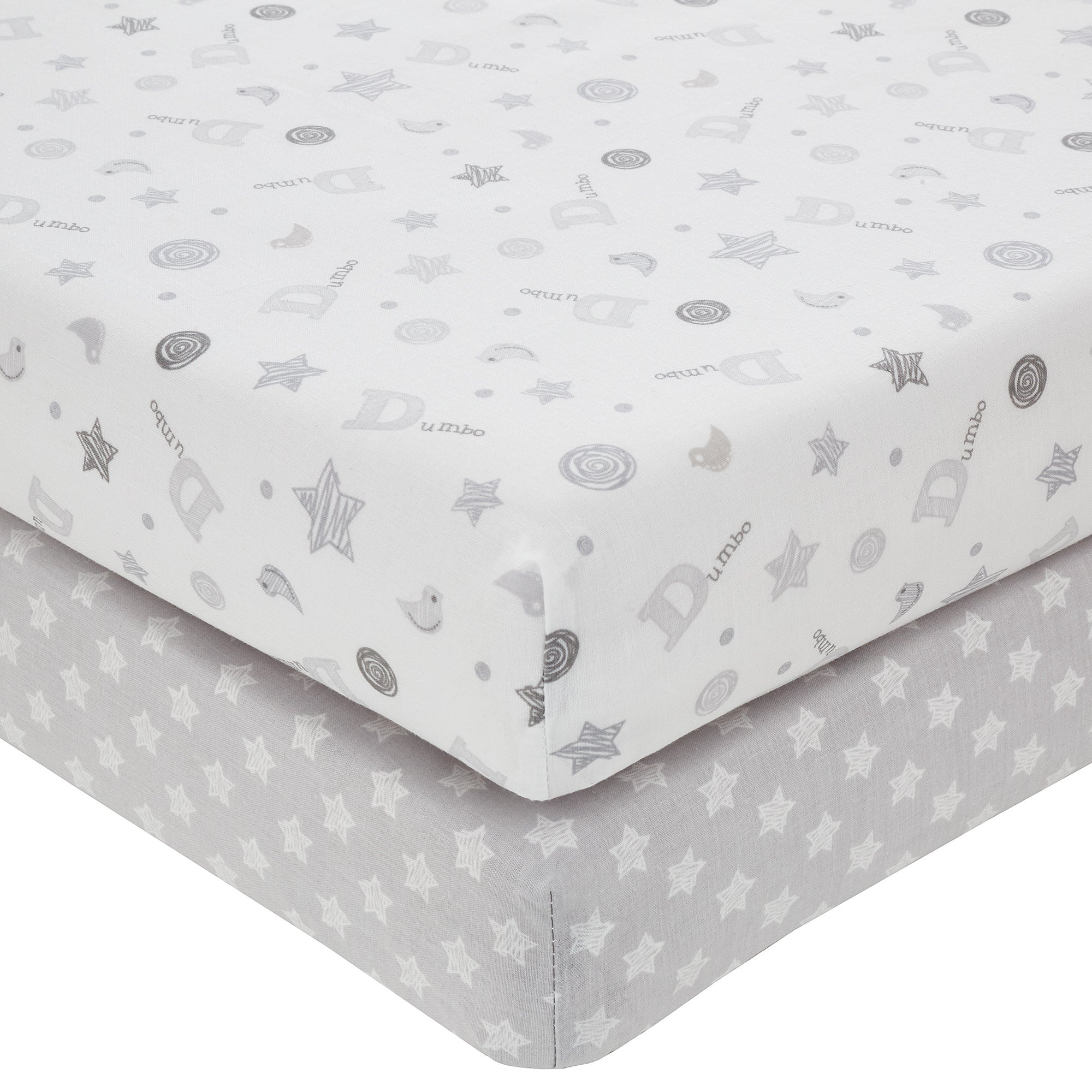 Image of Disney Dumbo Grey Nursery Pair of Cot Bed Fitted Sheets Grey