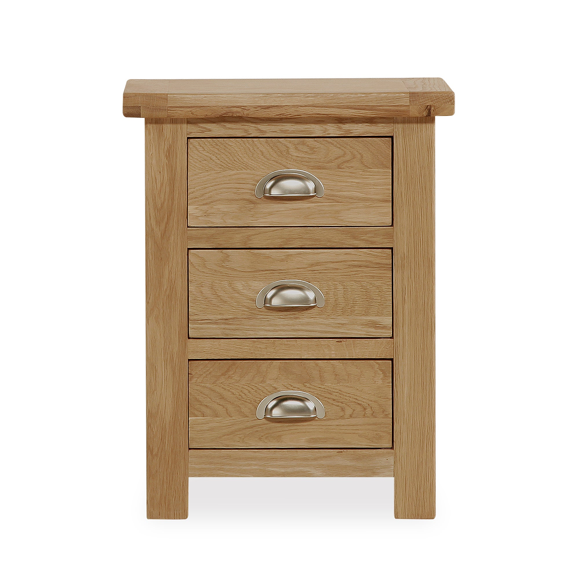 Photo of Oakley oak 3 drawer bedside table light brown / natural