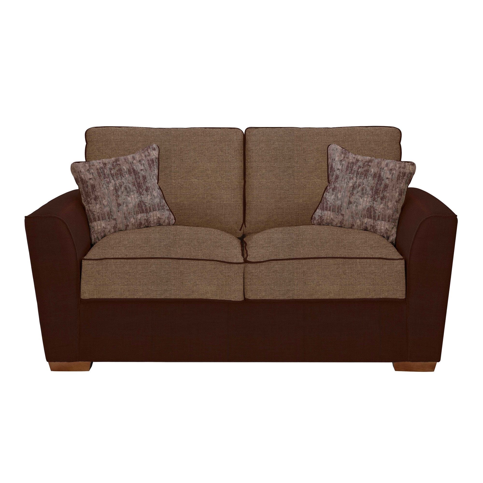 Seater Performance Leather And Fabric Sofa Leather Fabric Mix Brown