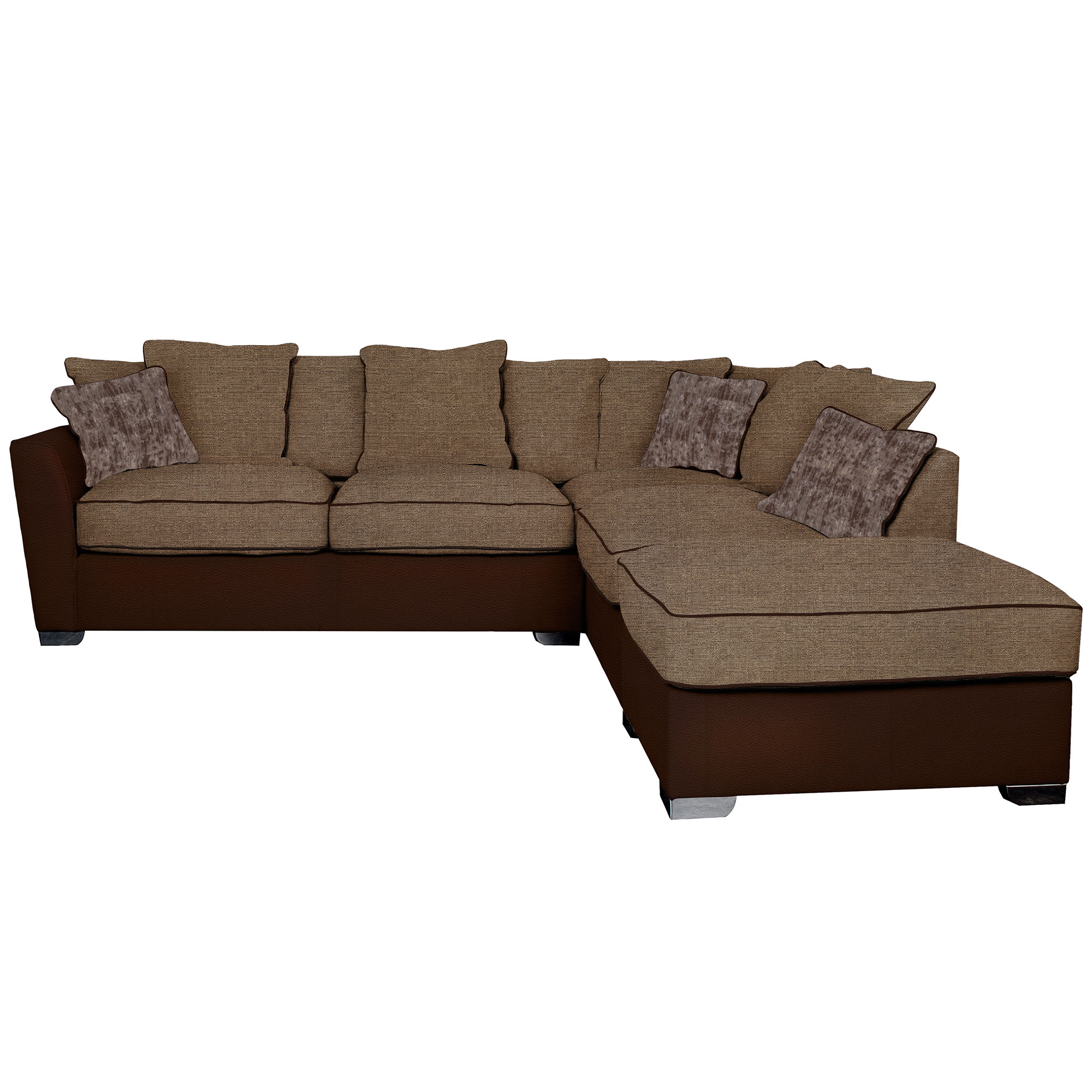 Right Hand Performance And Fabric Corner Sofa Leather Fabric Mix Brown