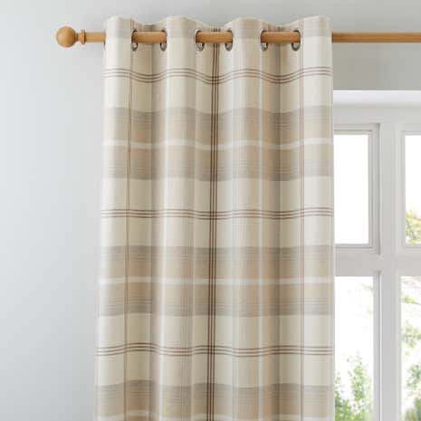 Highland Check Natural Lined Eyelet Curtains