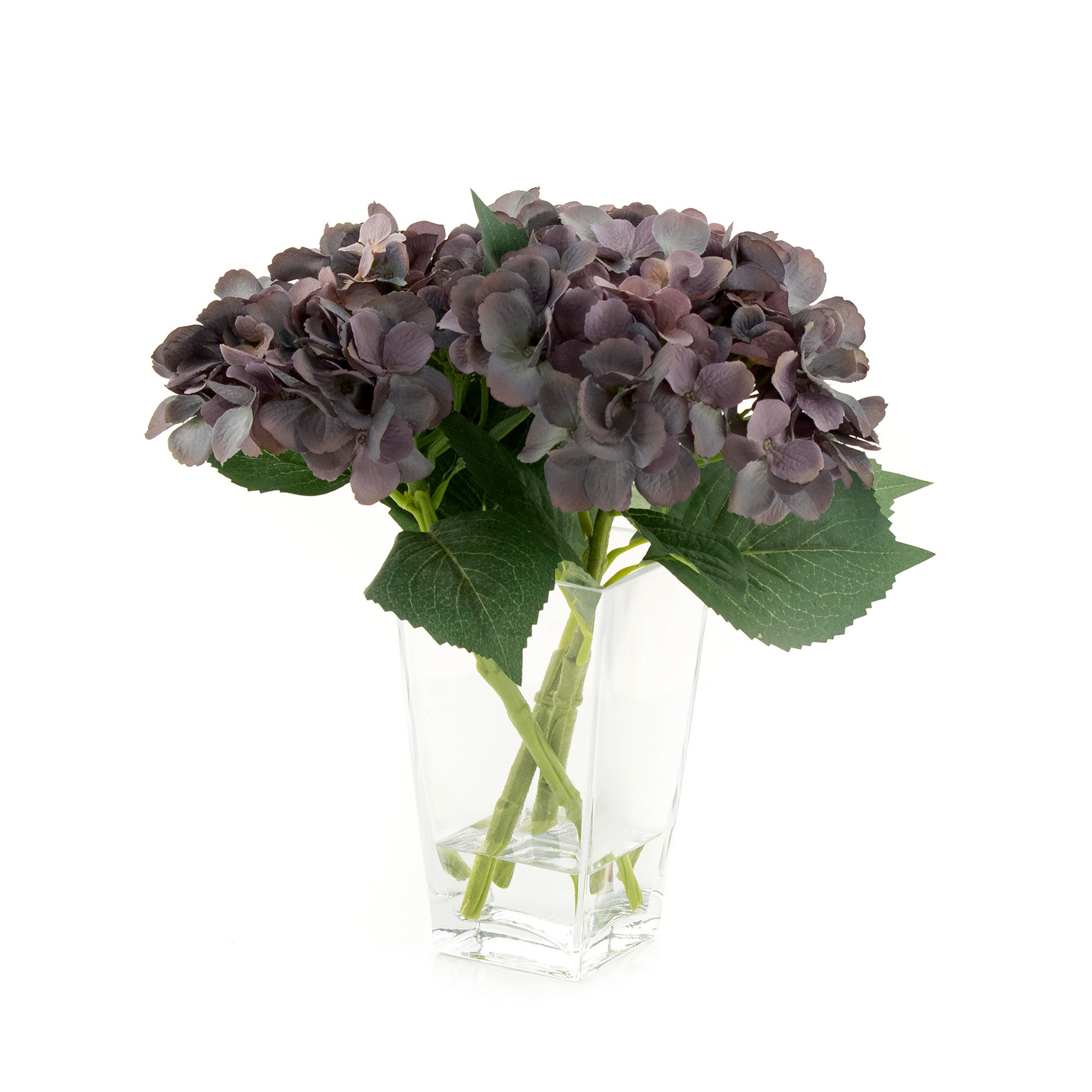 Photo of Hotel artificial hydrangeas in glass vase grey