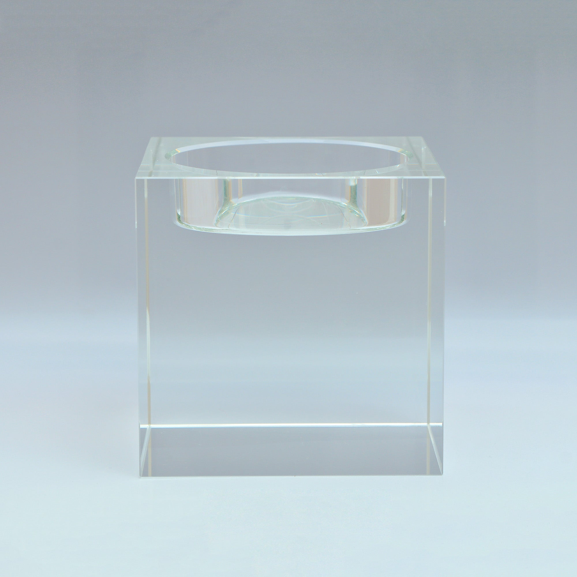 Photo of Hotel polished glass pillar candle holder clear