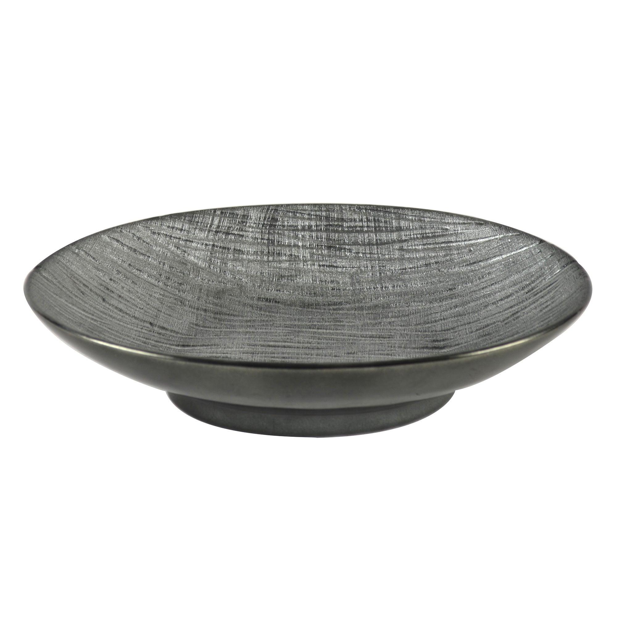 Photo of Metallic grey ceramic ridged bowl silver grey