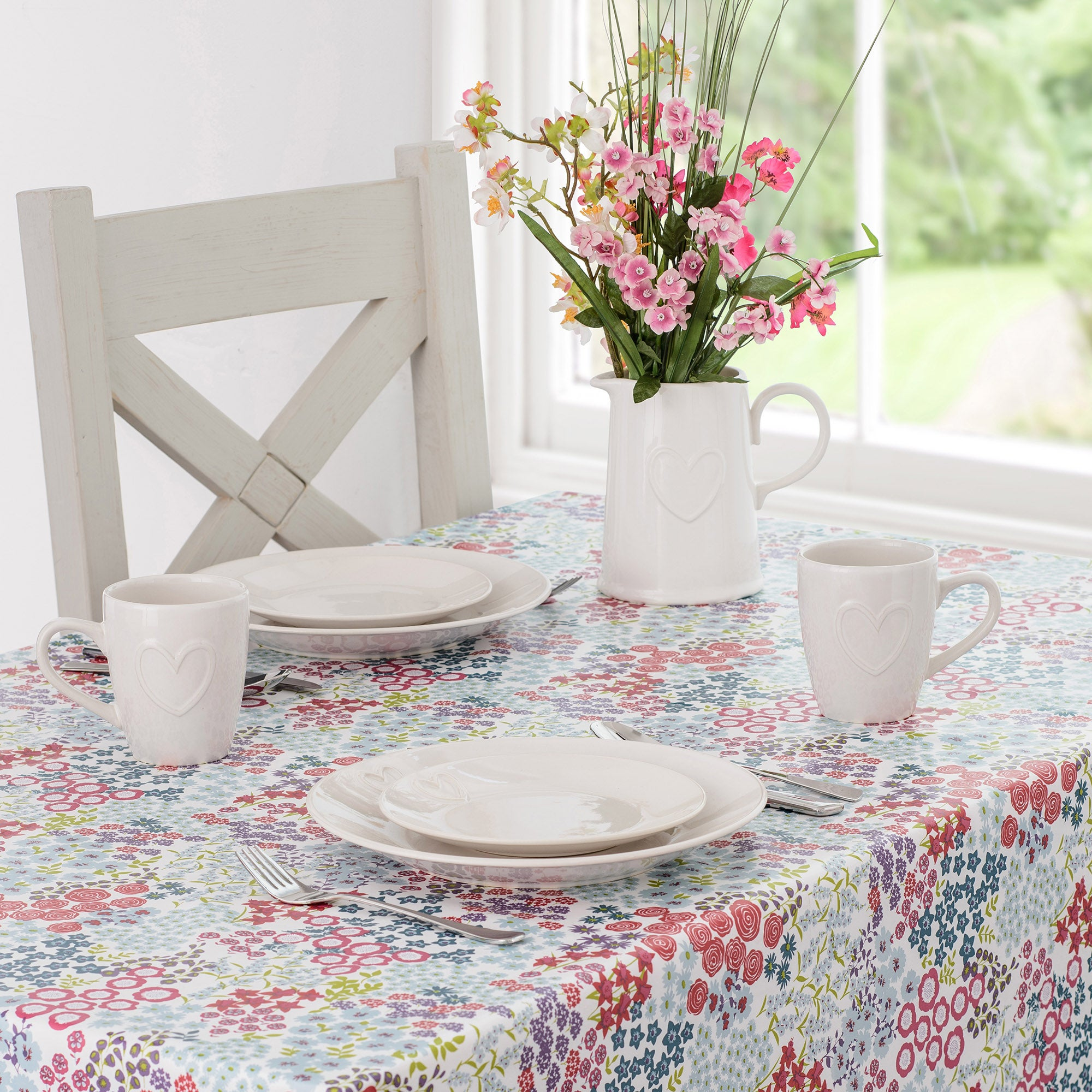 Image of Flower Show PVC Tablecloth White / Red / Blue