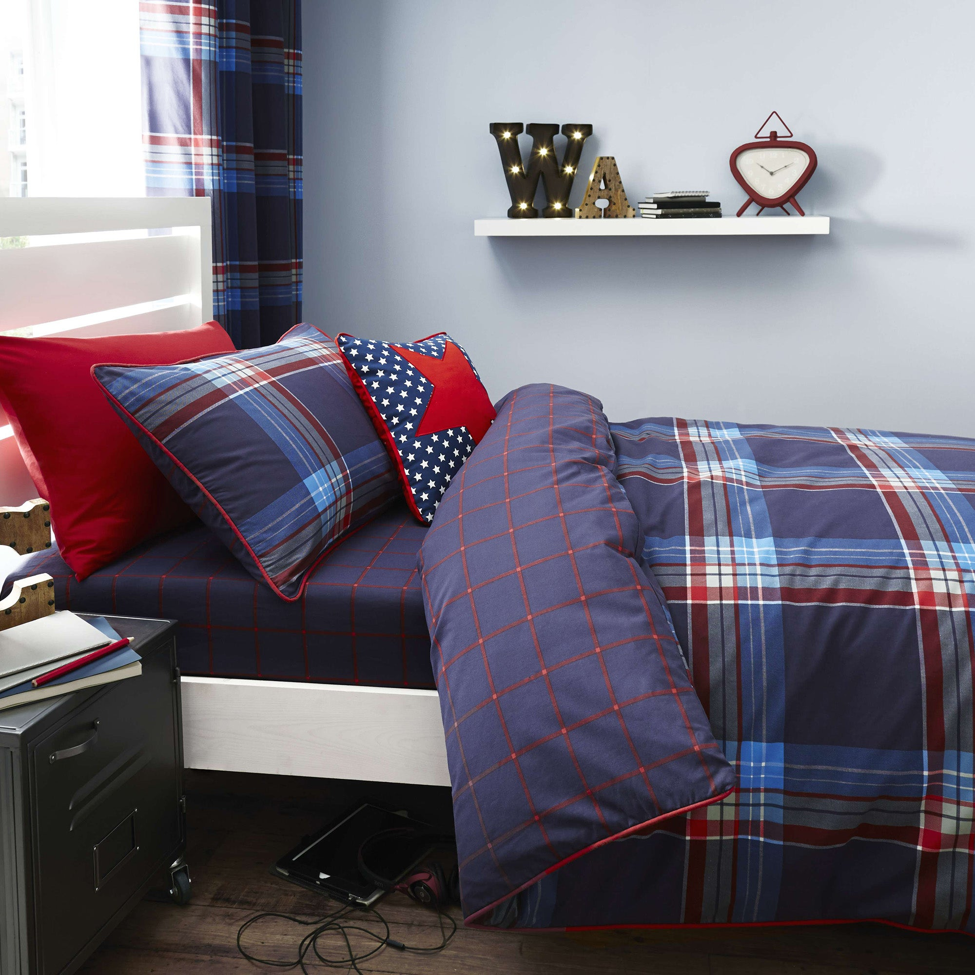 Photo of George check duvet cover set blue