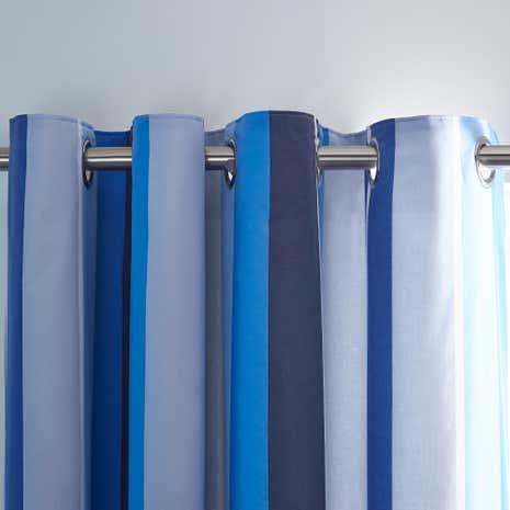 Ollie Stripe Blue Blackout Eyelet Curtains | Dunelm