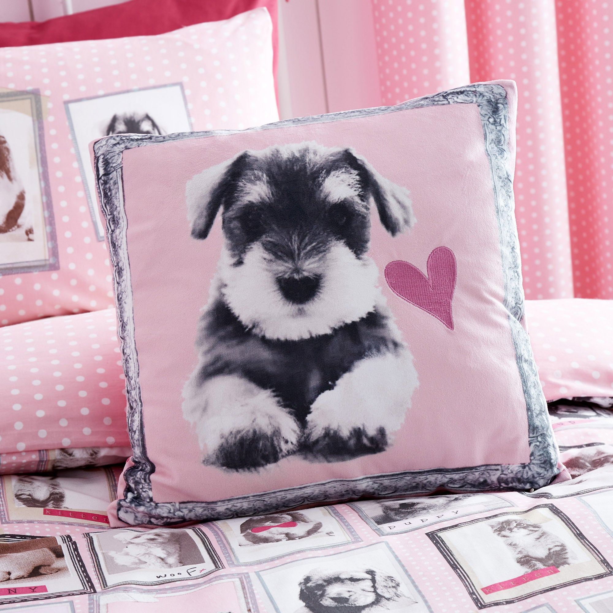 Fluffy Friends Pink Cushion Pink