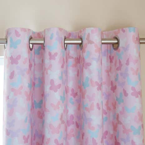 Maisie Heart Pink Blackout Eyelet Curtains | Dunelm