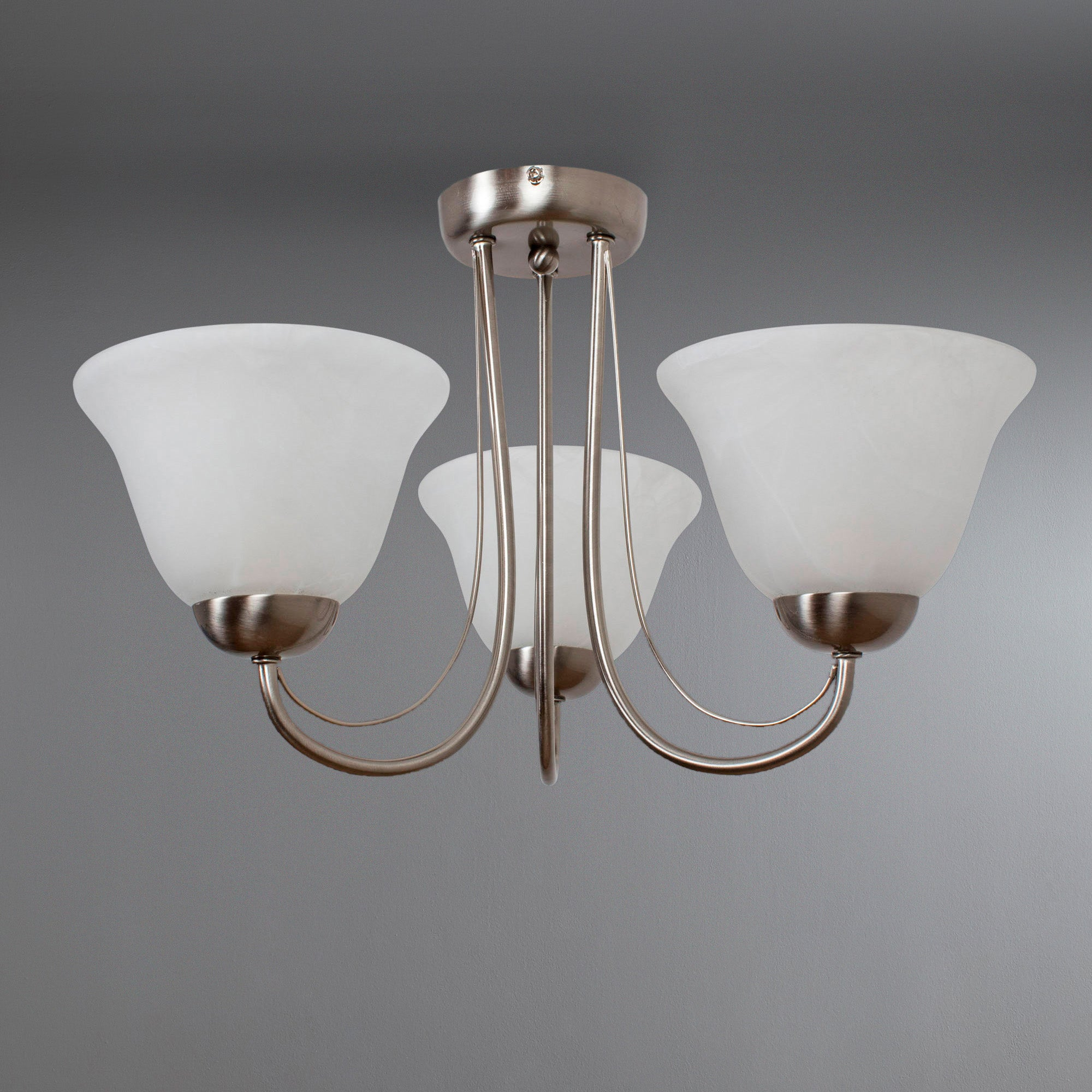 Alabaster 3 Arm Glass Light Fitting Silver