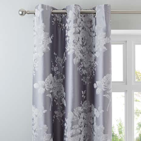 Laura Jacquard Grey Thermal Eyelet Curtains | Dunelm