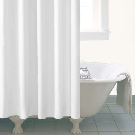 white shower curtain. Ceramic Extra Long White Shower Curtain