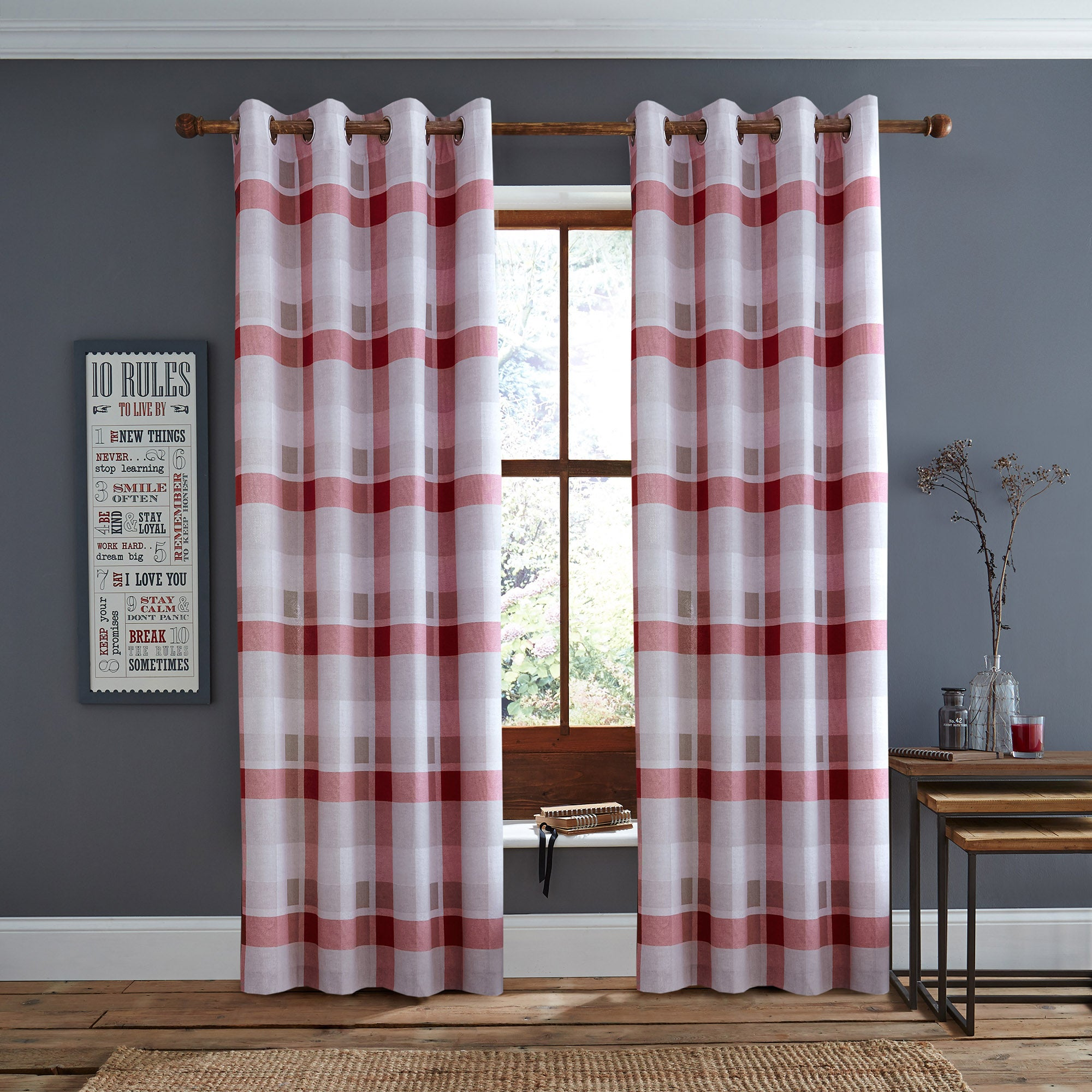 Photo of Red berwick check eyelet curtains red
