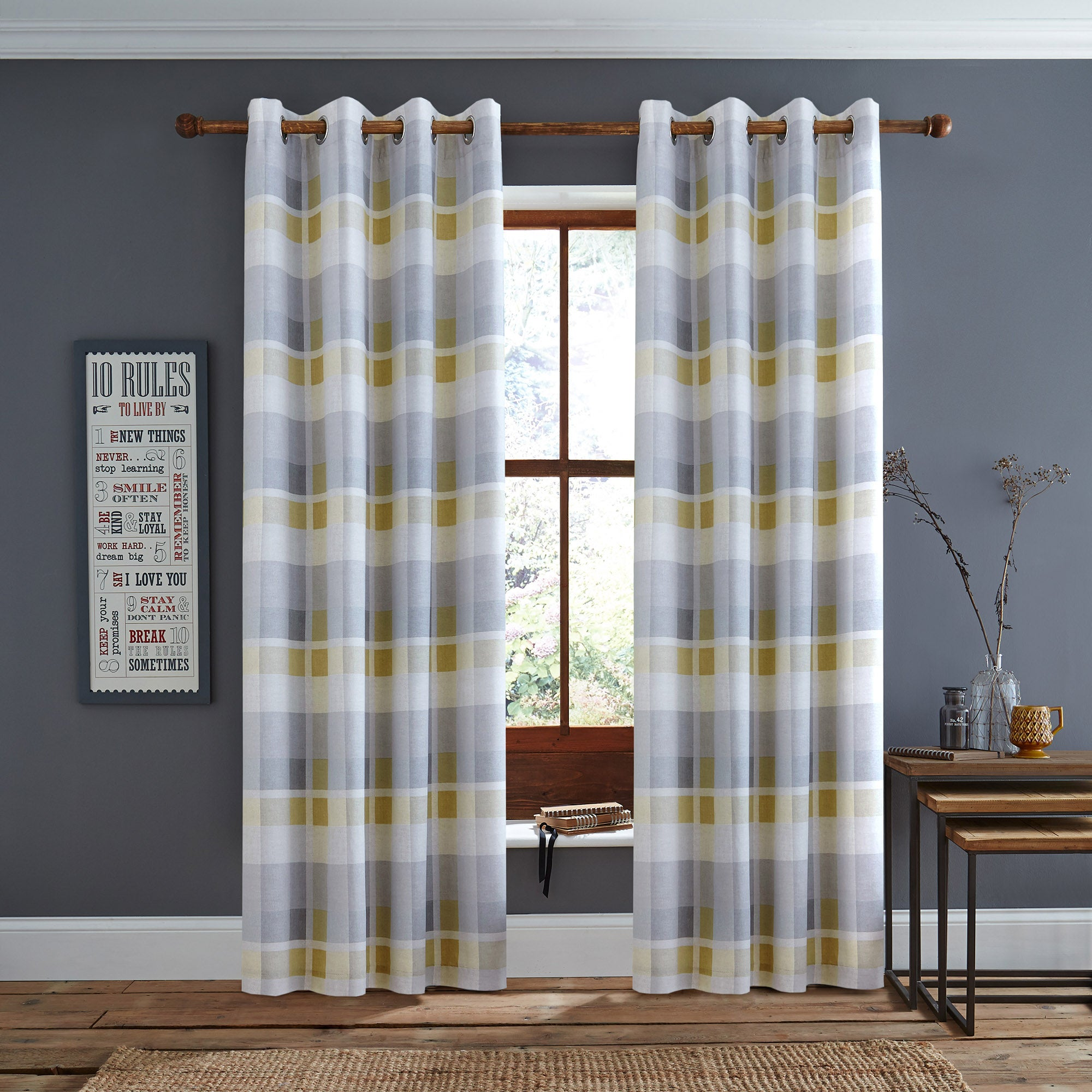 Ochre Berwick Check Eyelet Curtains Ochre (Yellow)
