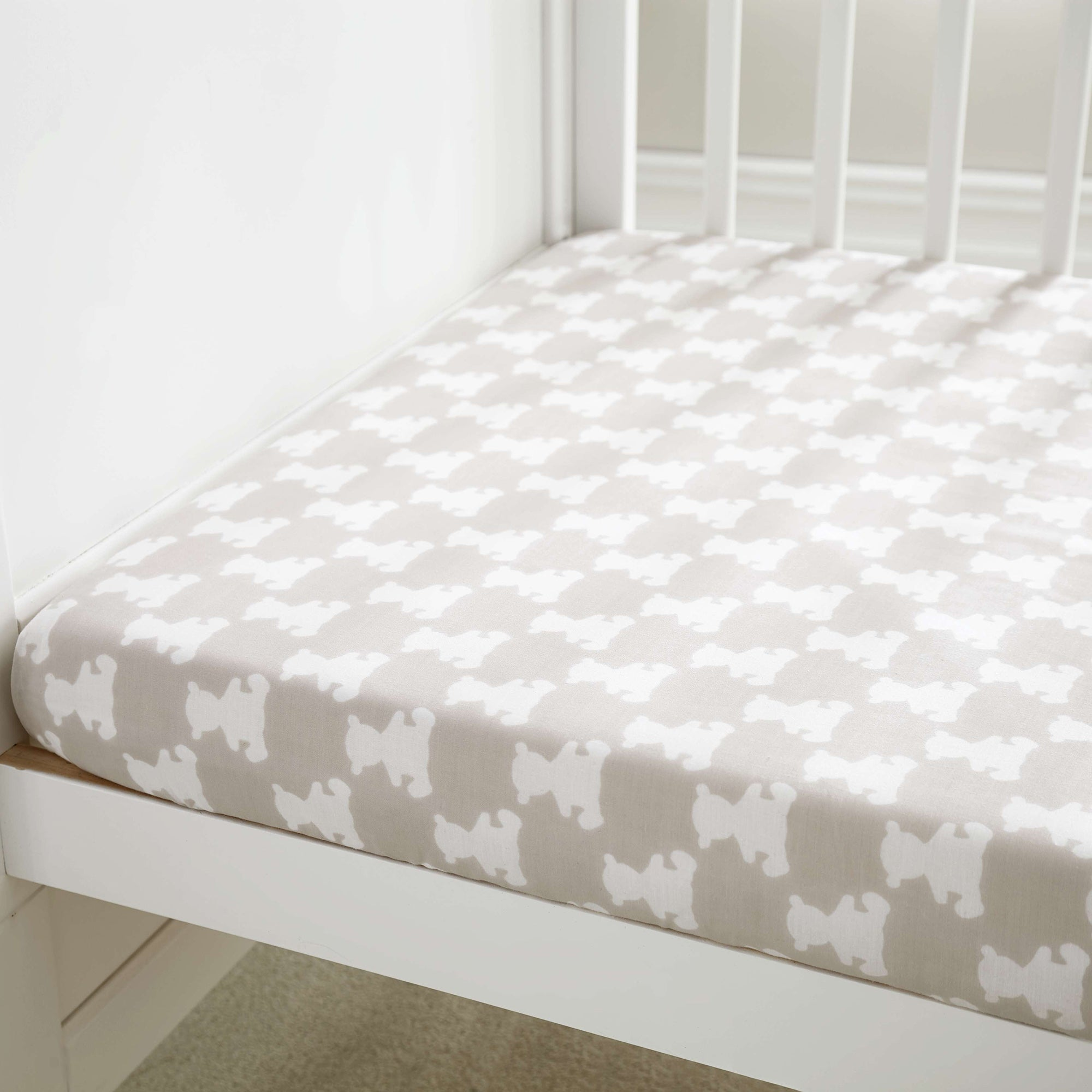 Image of Archie Bear Natural Nursery Cot Bed Fitted Sheet Pair Natural