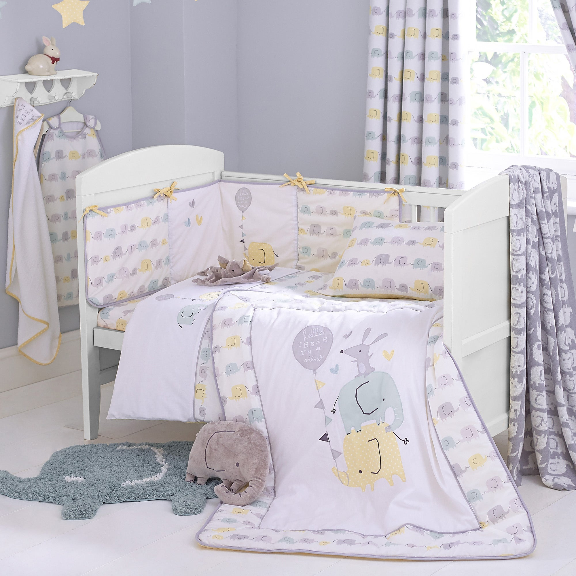 Ellie and Friends Nursery Duvet Cover and Pillowcase Set White  Yellow