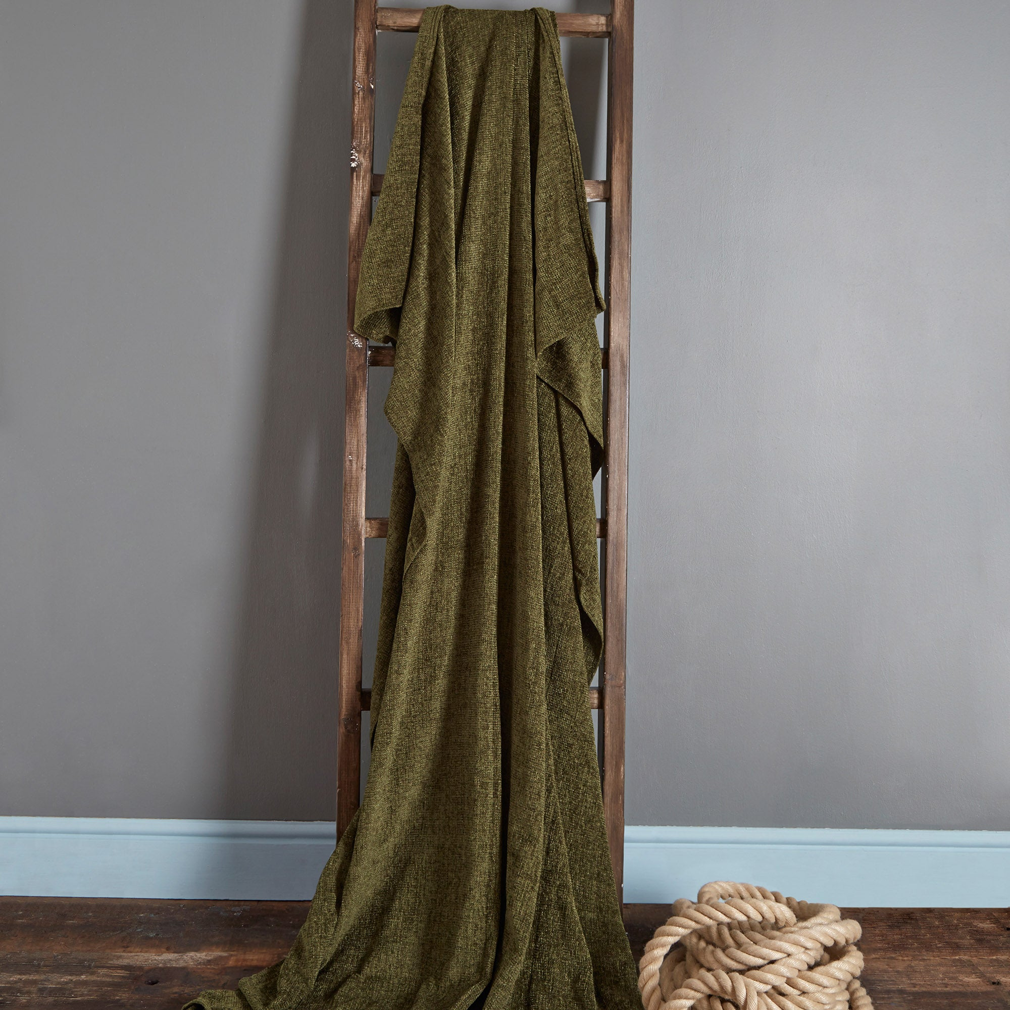 Photo of Chenille plain throw forest green