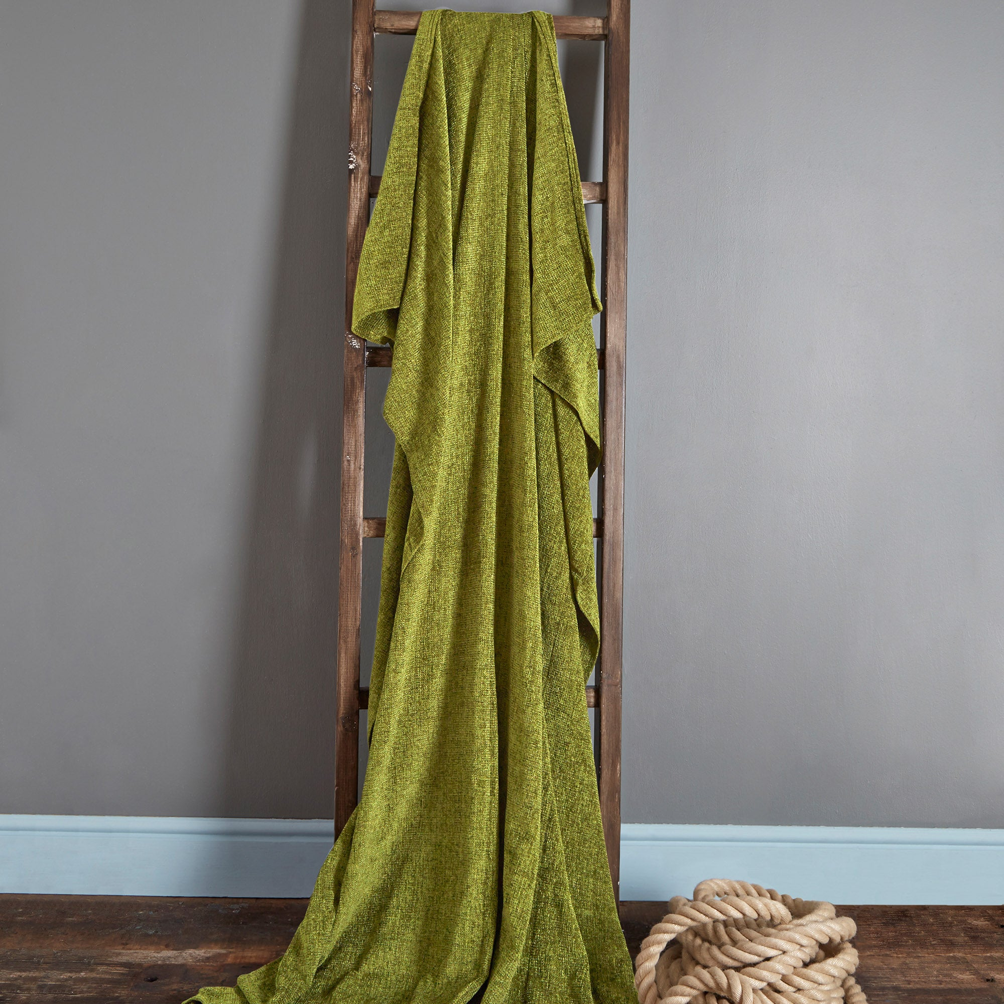 Photo of Chenille plain throw olive green
