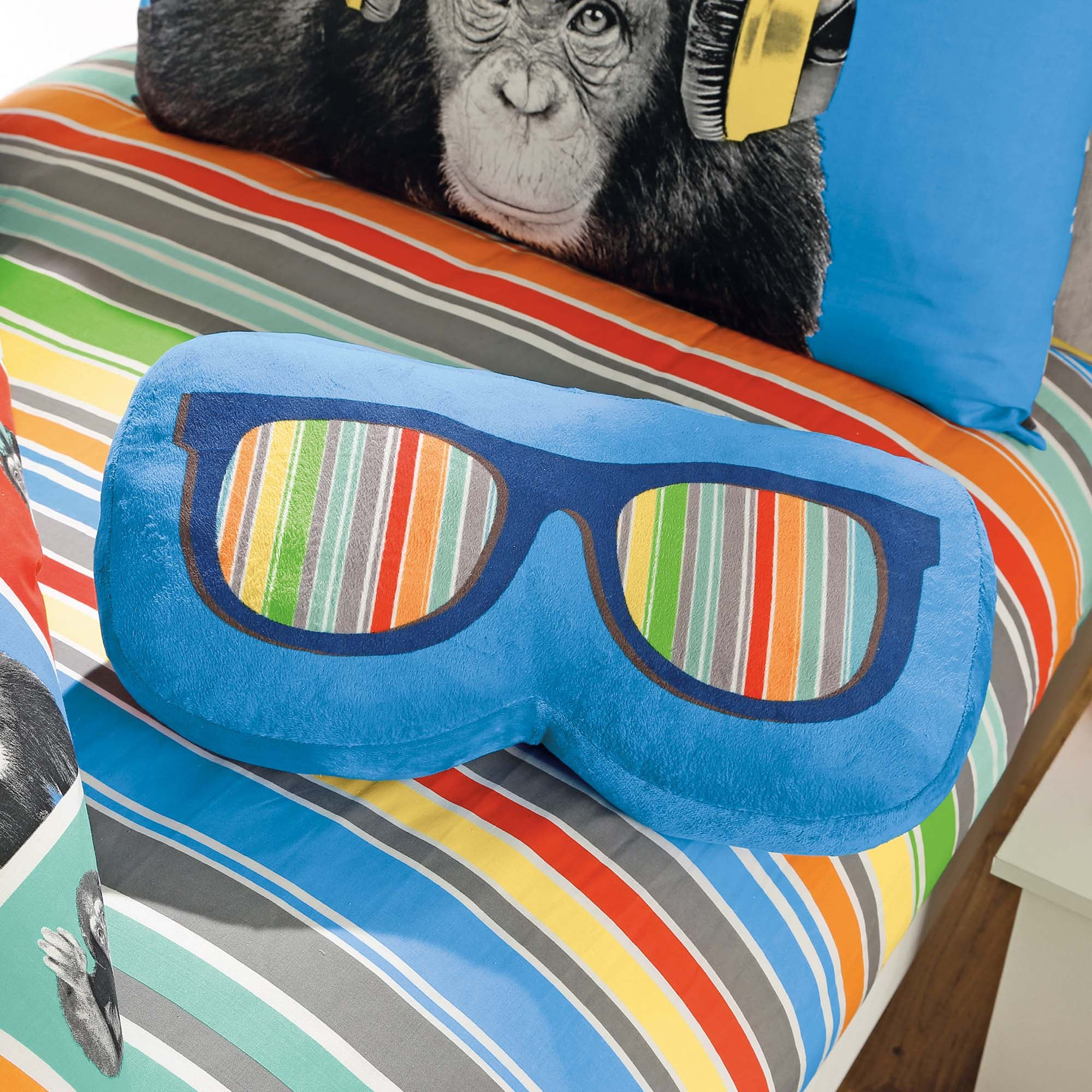 Click to view product details and reviews for Monkeying Around 3d Shades Cushion Blue.