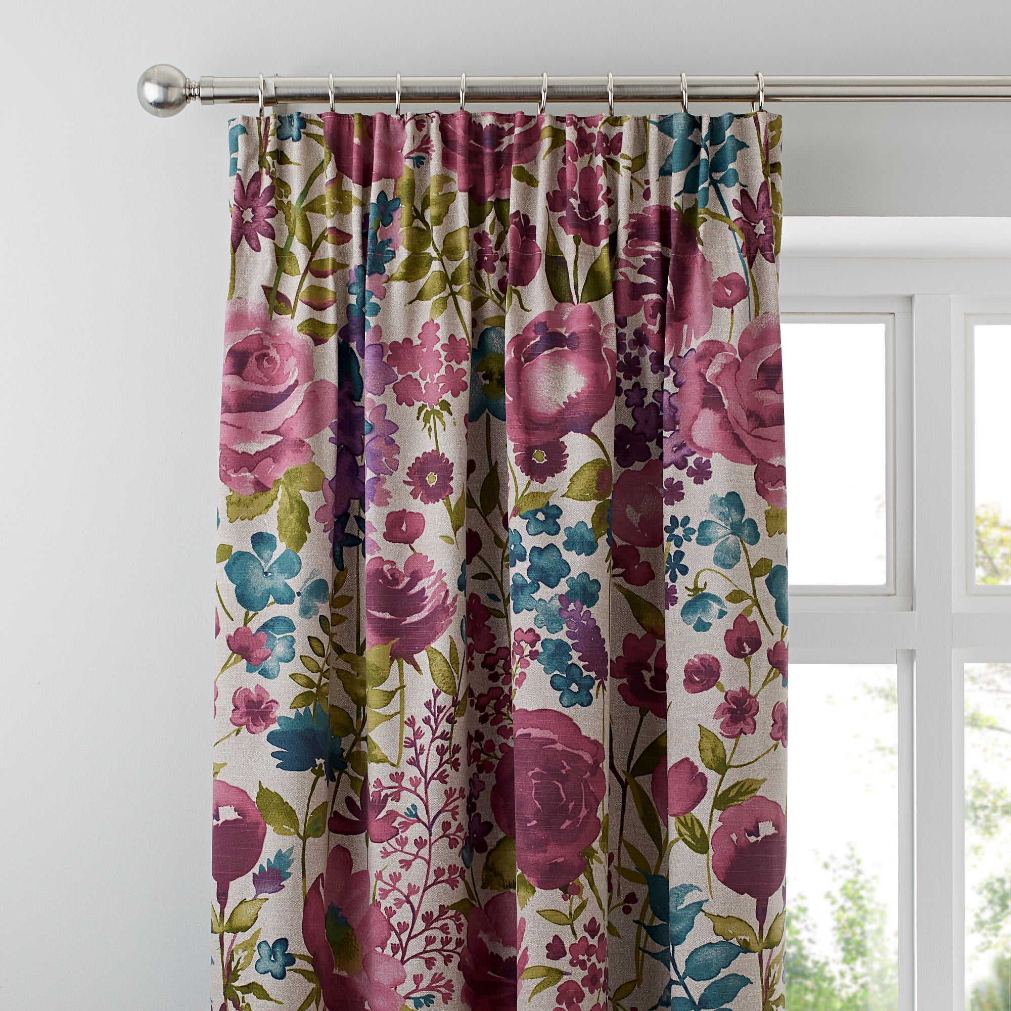Photo of Misty meadow lined pencil pleat curtains cream / pink / green