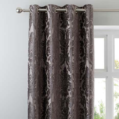Charming Versailles Charcoal Lined Eyelet Curtains