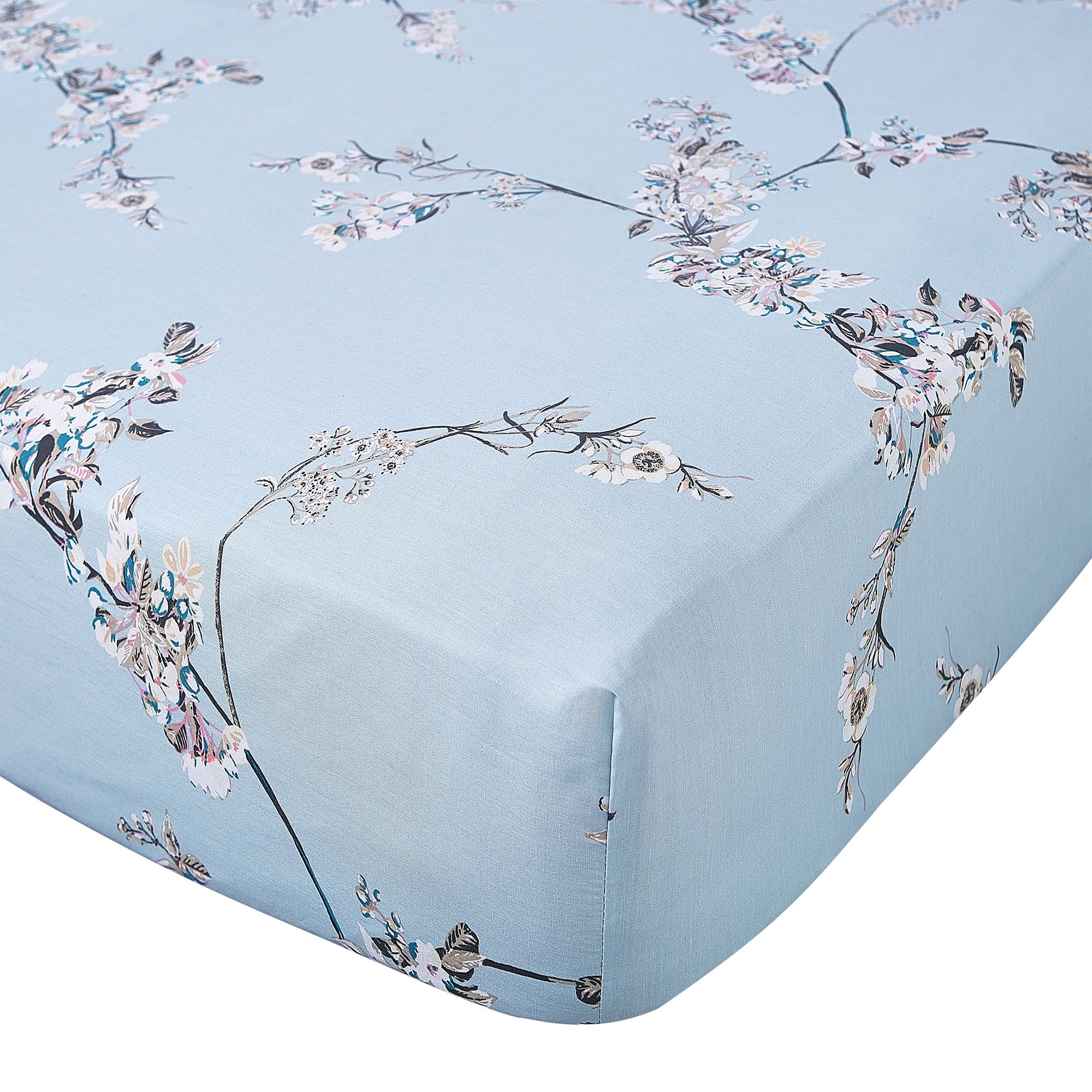 Image of Beautiful Birds Duck Egg 28cm Fitted Sheet Duck Egg (Blue)