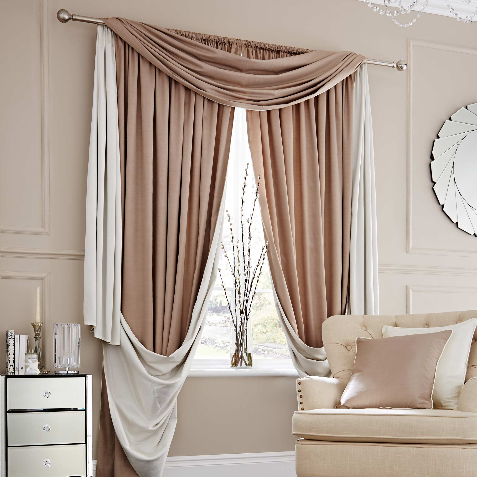 Photo of Elegance natural lined slot top curtains natural