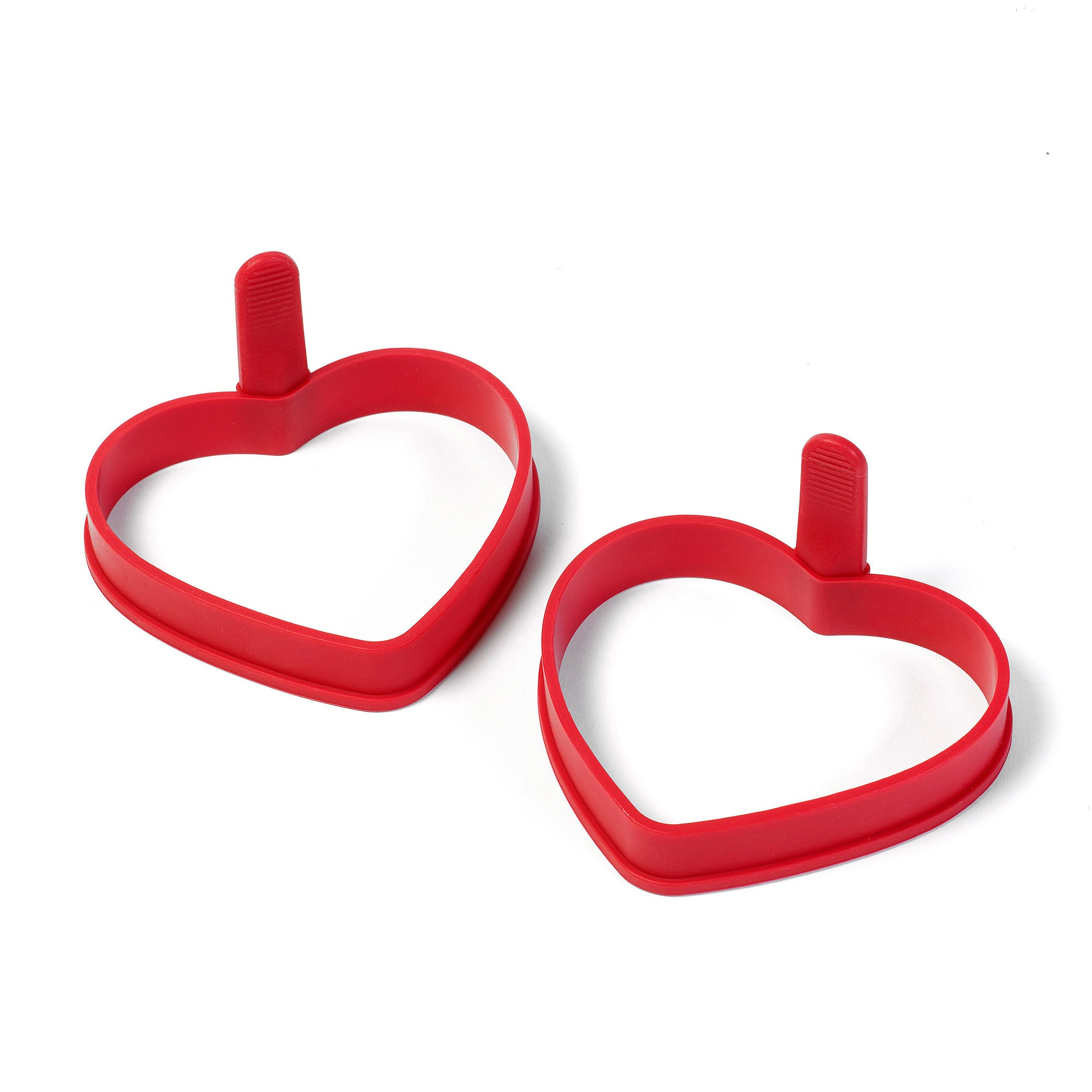Image of 2 Heart Shaped Silicone Egg Rings Red