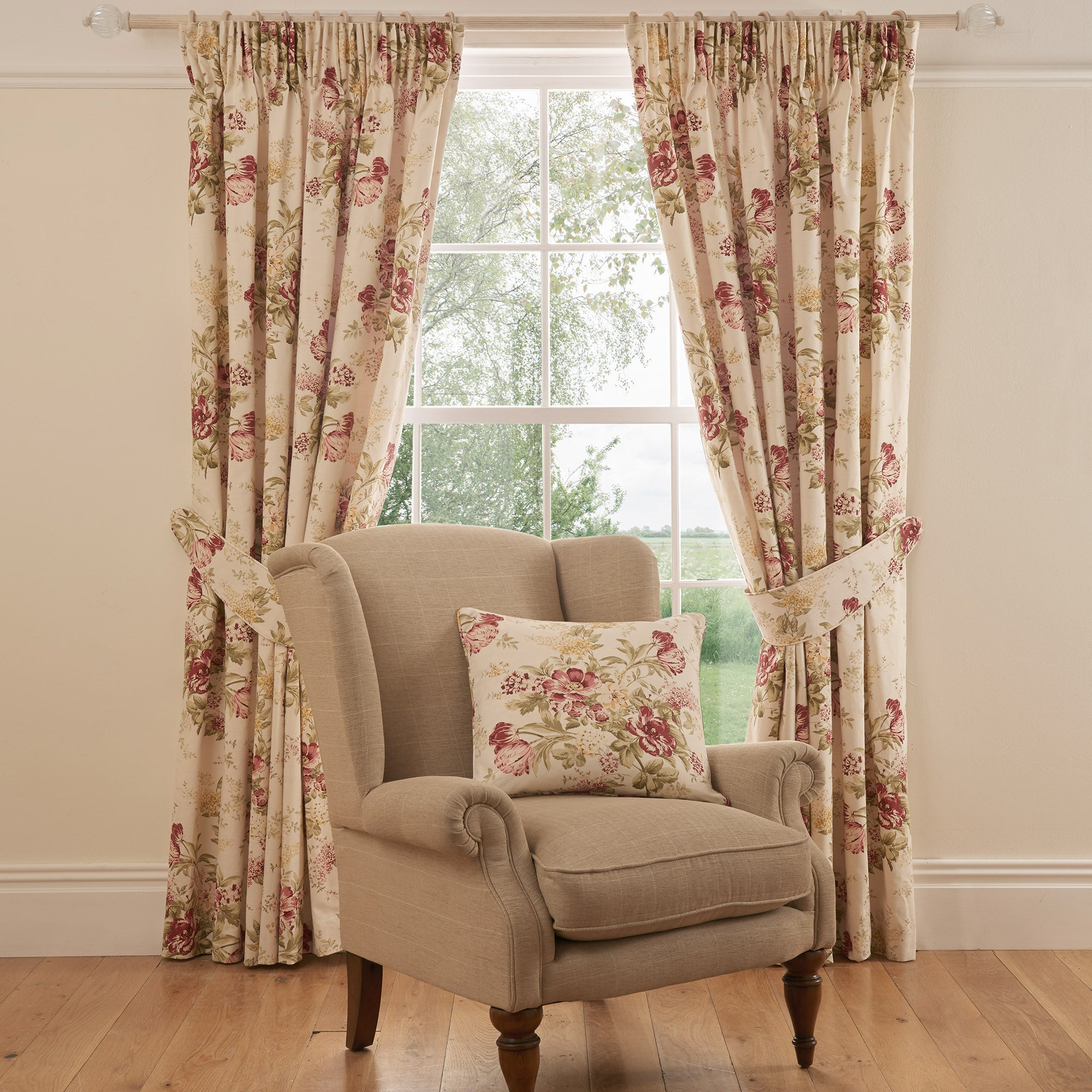 Photo of Dorma brympton red lined pencil pleat curtains red