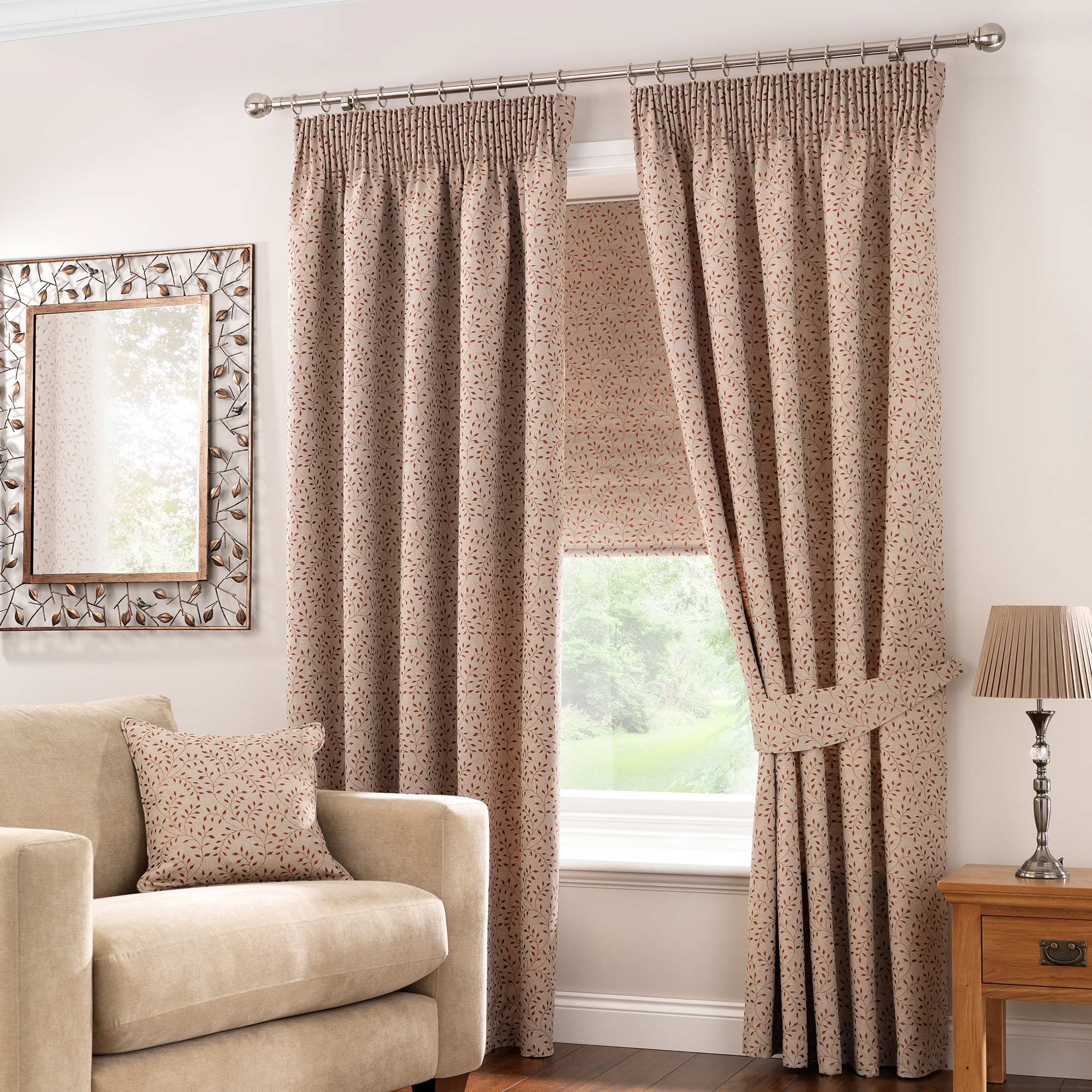 Windsor Terracotta Lined Pencil Pleat Curtains Terracotta