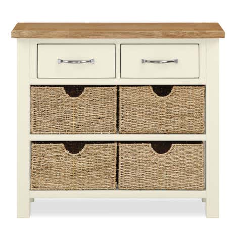 Sidmouth Cream Console Table With Baskets