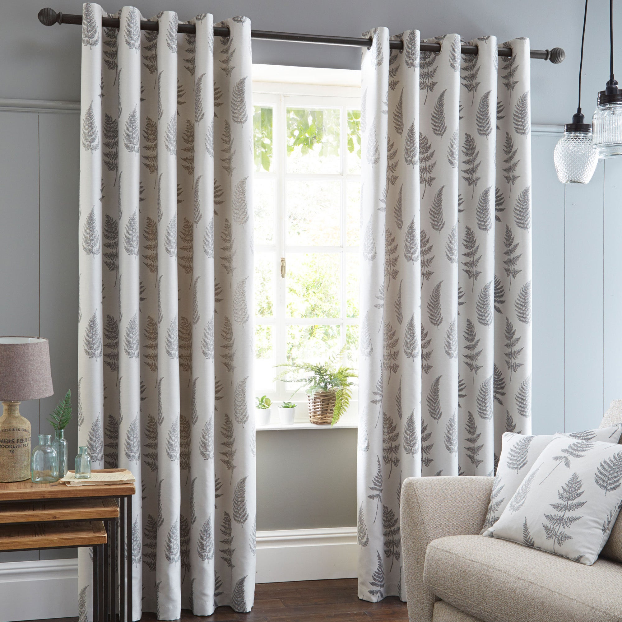 Teal and grey curtains