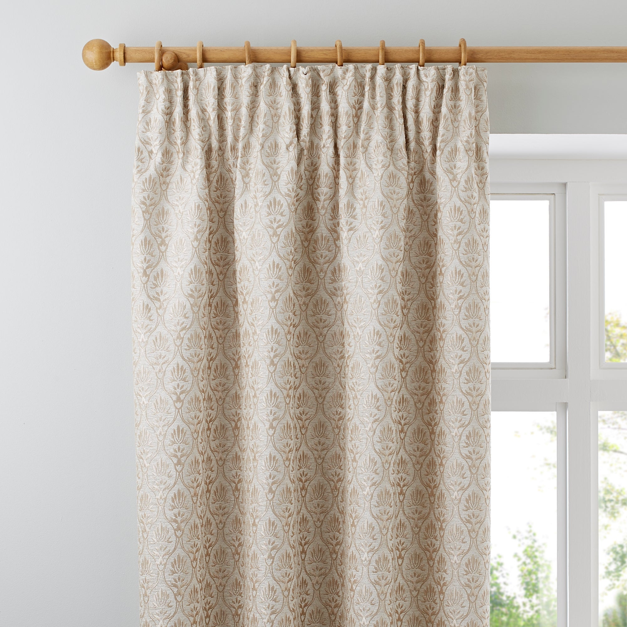 Photo of Heritage mulberry cream lined pencil pleat curtains cream