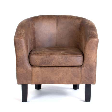 Tan Faux Leather Tub Chair | Dunelm