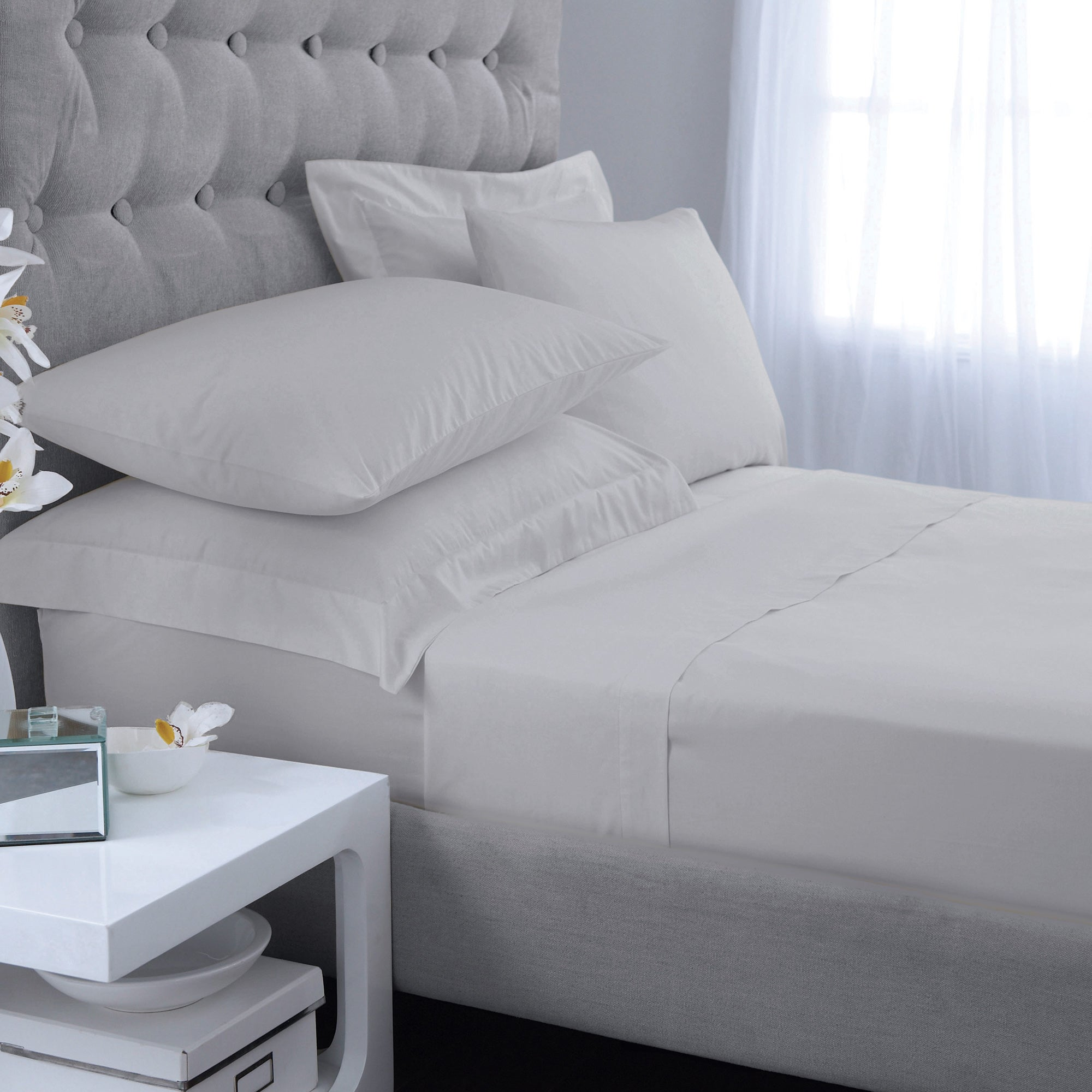 Image of Hotel 300 Thread Count Silver Duvet Cover Silver