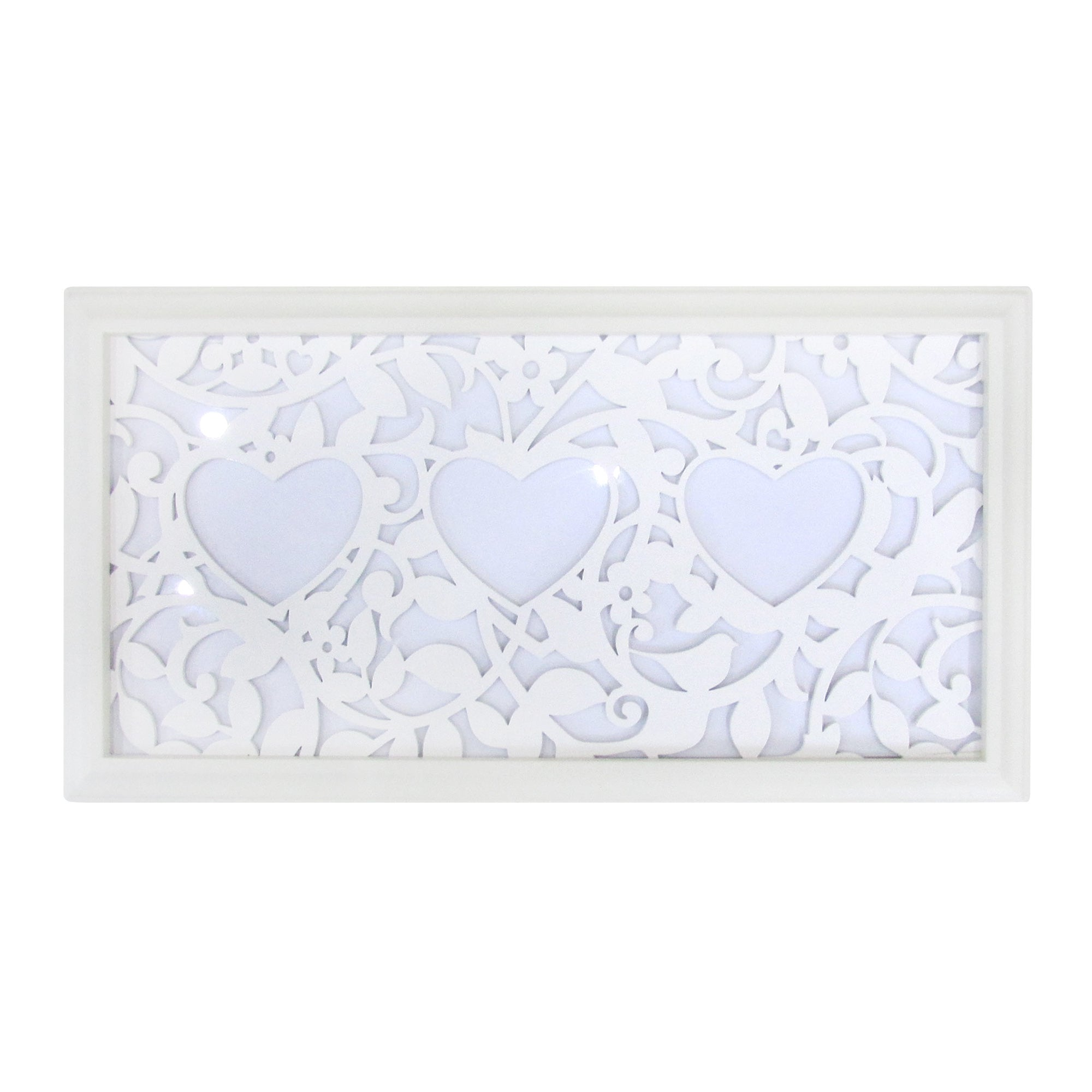 Image of 3 Aperture Heart Laser Cut Photo Frame White