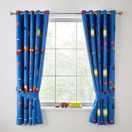 Transport Blue Blackout Eyelet Curtains
