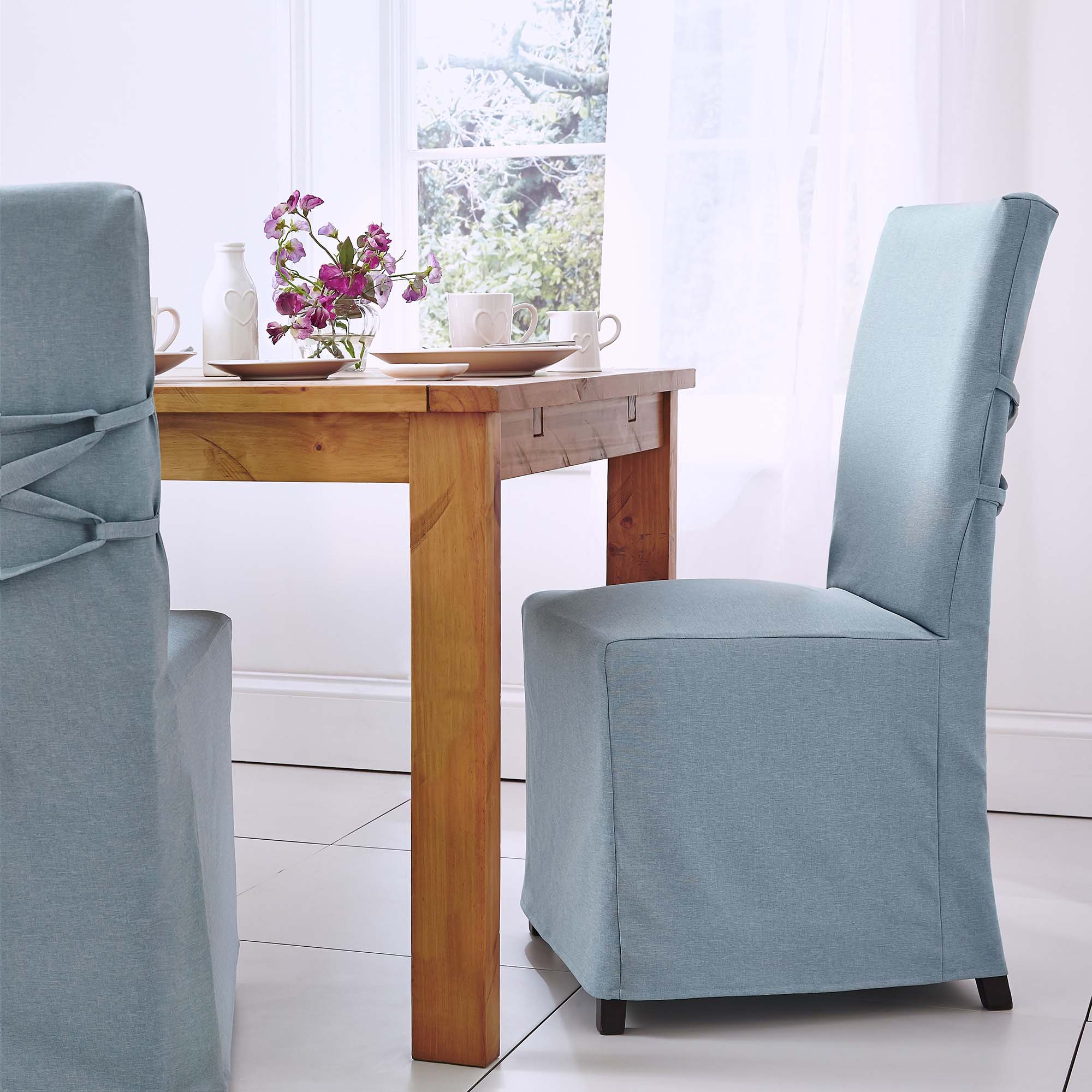 Image of 2 Duck Egg Chair Covers Duck Egg (Blue)