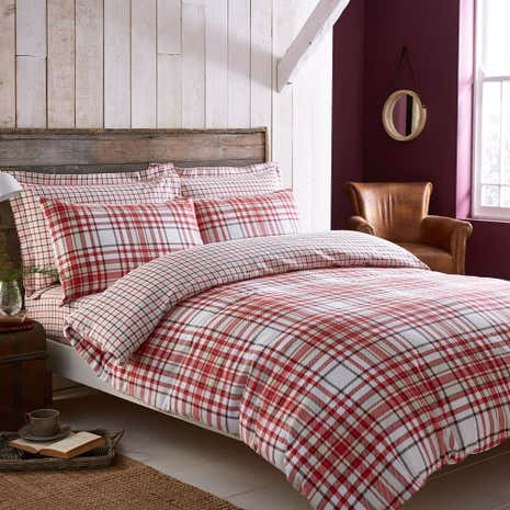 Hartford Red Brushed Cotton Reversible Duvet Cover And Pillowcase Set