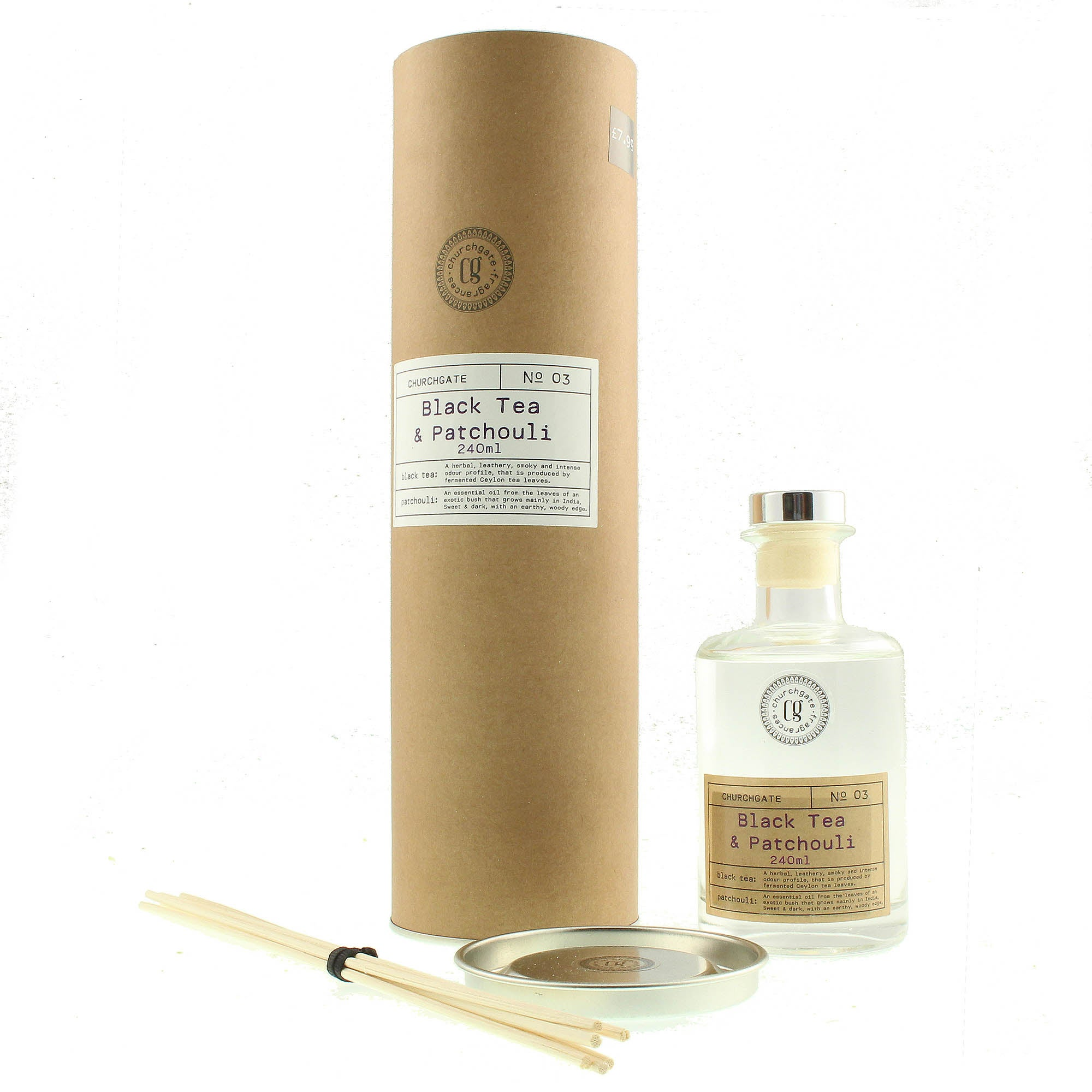 Image of Churchgate Black Tea and Patchouli Reed Diffuser Clear
