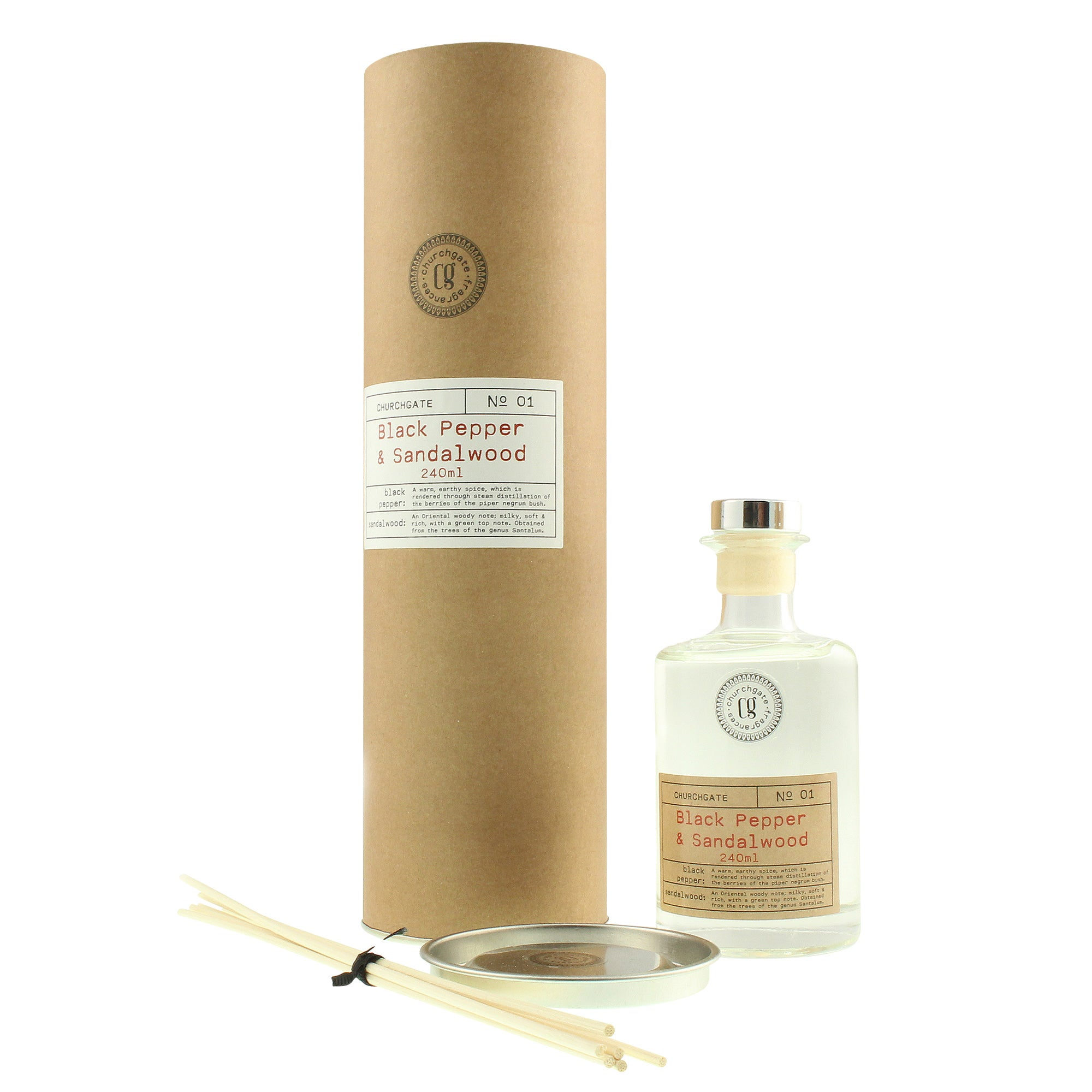 Image of Churchgate Black Pepper and Sandalwood Reed Diffuser Clear