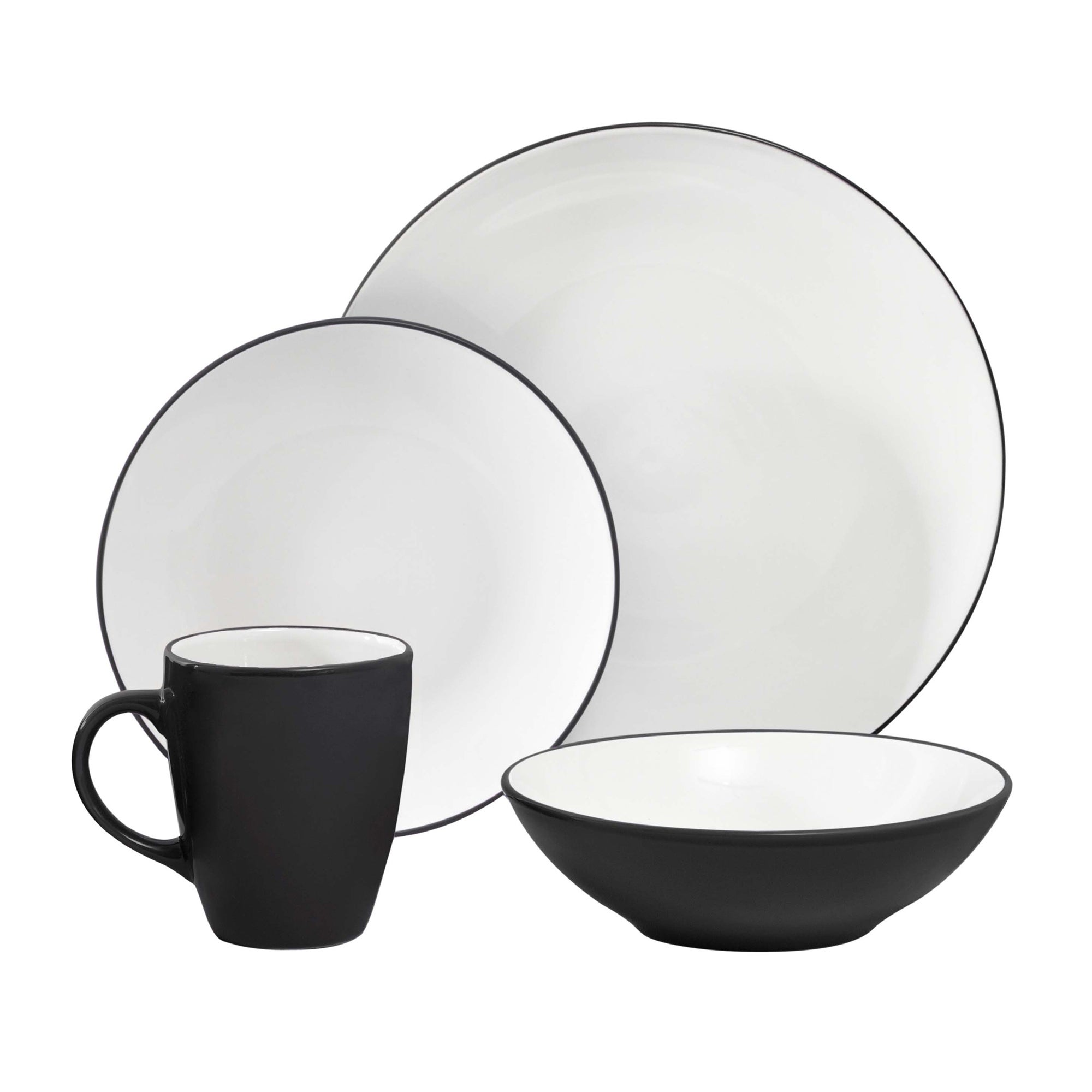 Image of Spectrum 16 Piece Black Dinner Set Black